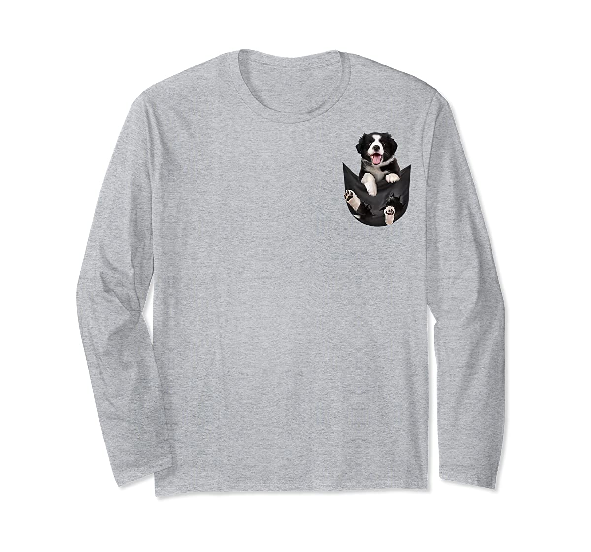 Gift dog funny cute shirt - Border Collie in pocket shirt T-Shirt-Long Sleeve-Sport Grey
