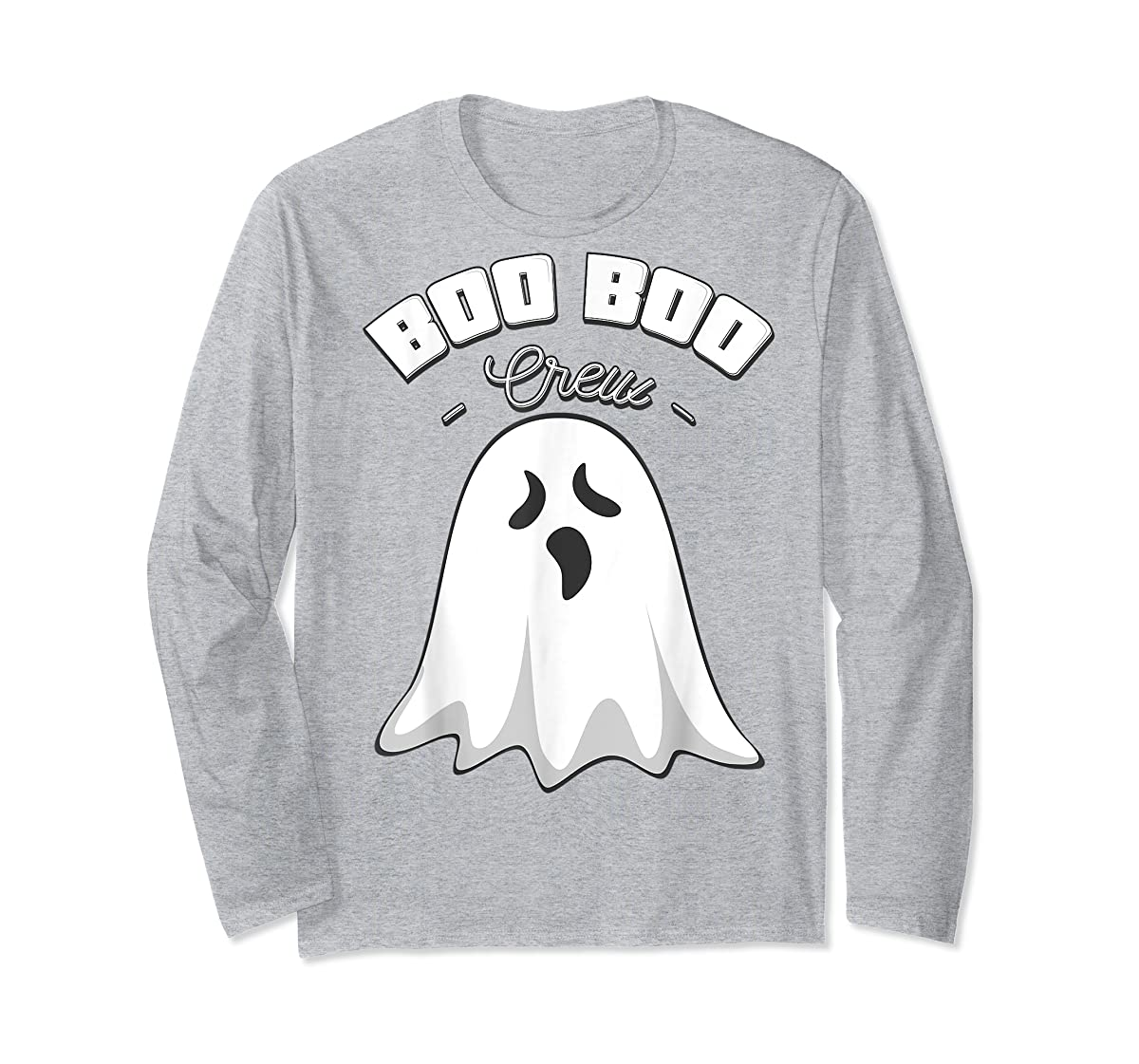 Boo Boo Crew Ghost Funny Halloween Black and Orange Night  T-Shirt-Long Sleeve-Sport Grey