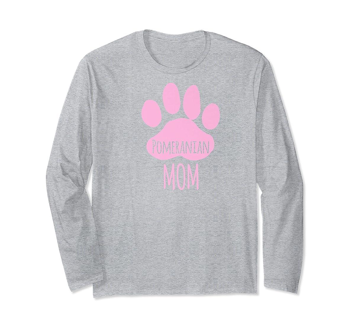 Cute Pomeranian Mom T Shirt for Pom Owner Dog Paw Pink-Long Sleeve-Sport Grey