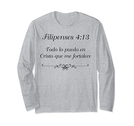 Amazon.com: Camiseta Manga Larga Con Cita Biblica Filipenses 4:13: Clothing