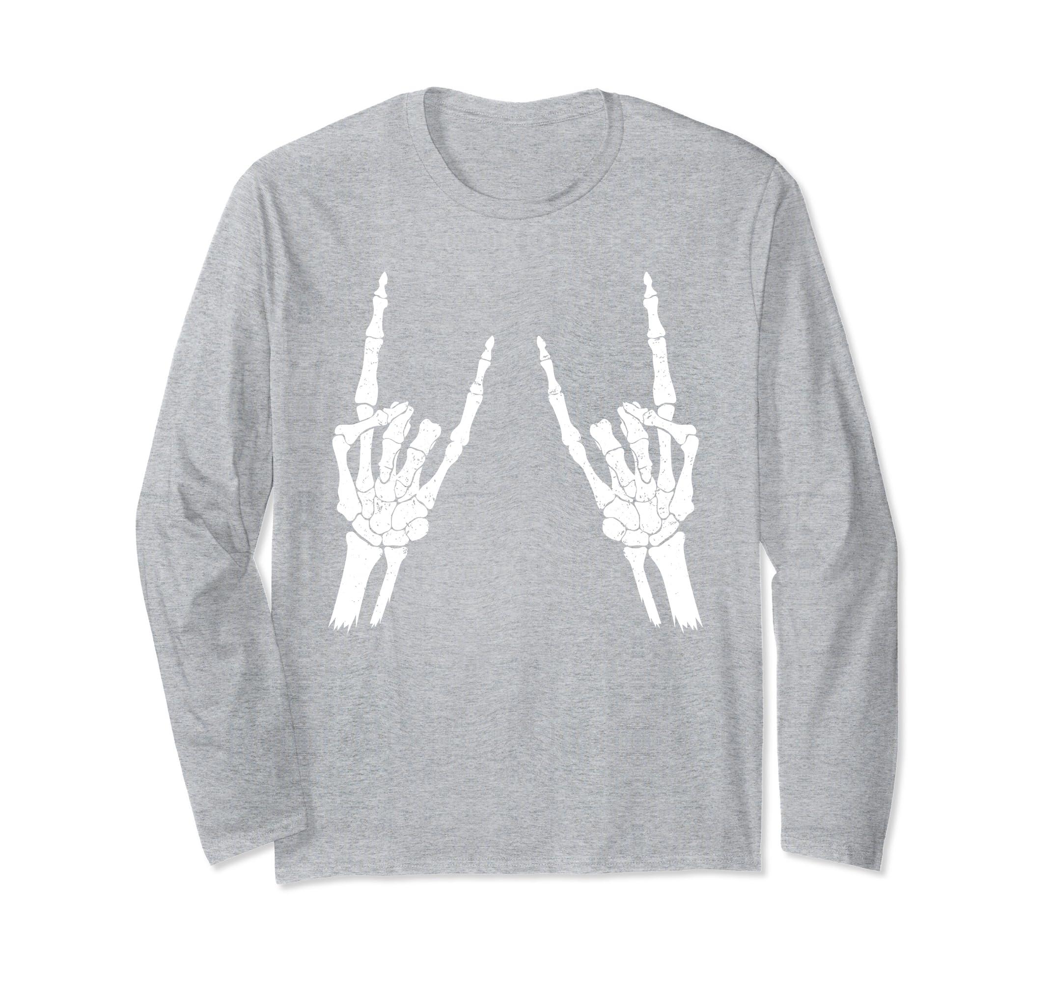 Skeleton Rocker Long sleeve T Shirt Halloween Trick Or Treat-Rose