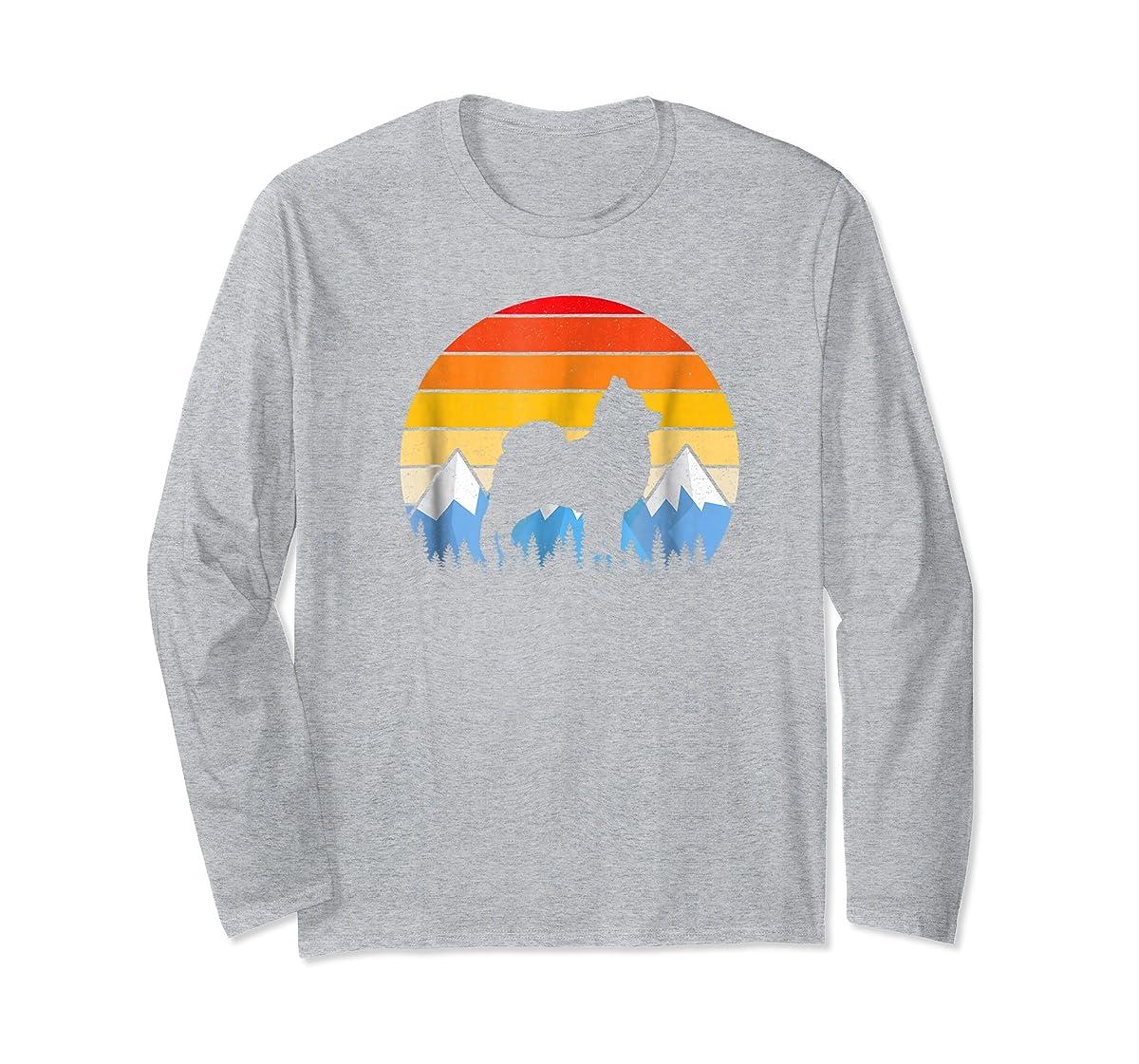 Vintage Retro Pomeranian Lovers Gifts Pomeranian T Shirts-Long Sleeve-Sport Grey