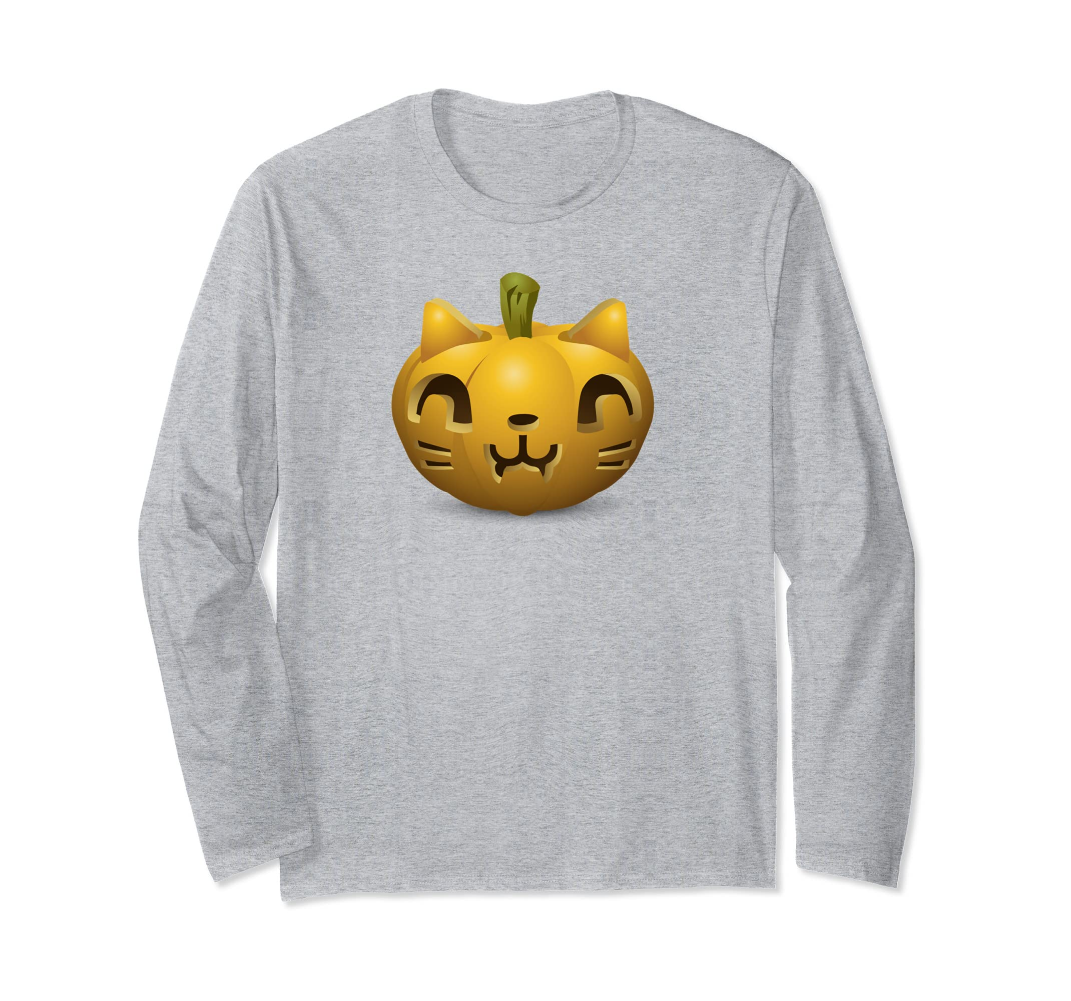 Halloween Costume Cat Long Sleeve Shirt Carved Pumpkin Cat-ANZ