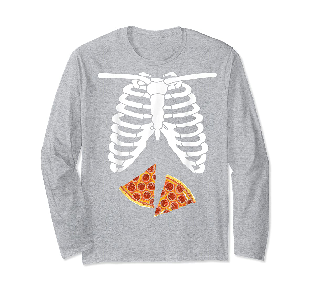 Halloween Skeleton Xray Pizza Slices Costume Rib Cage Easy T-Shirt-Long Sleeve-Sport Grey
