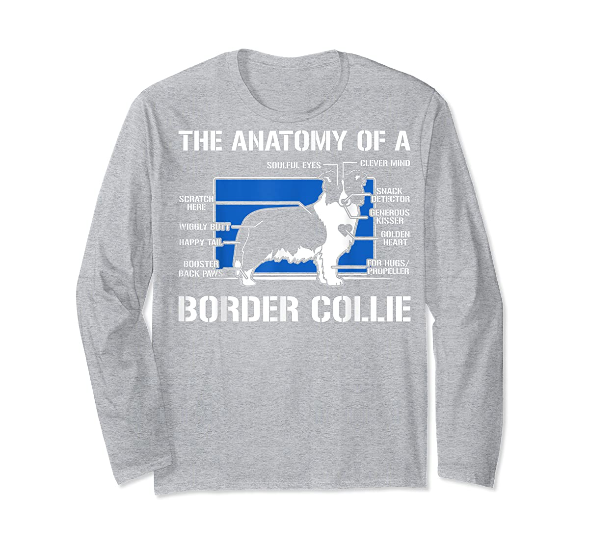 The Anatomy Of A Border Collie T shirt-Long Sleeve-Sport Grey