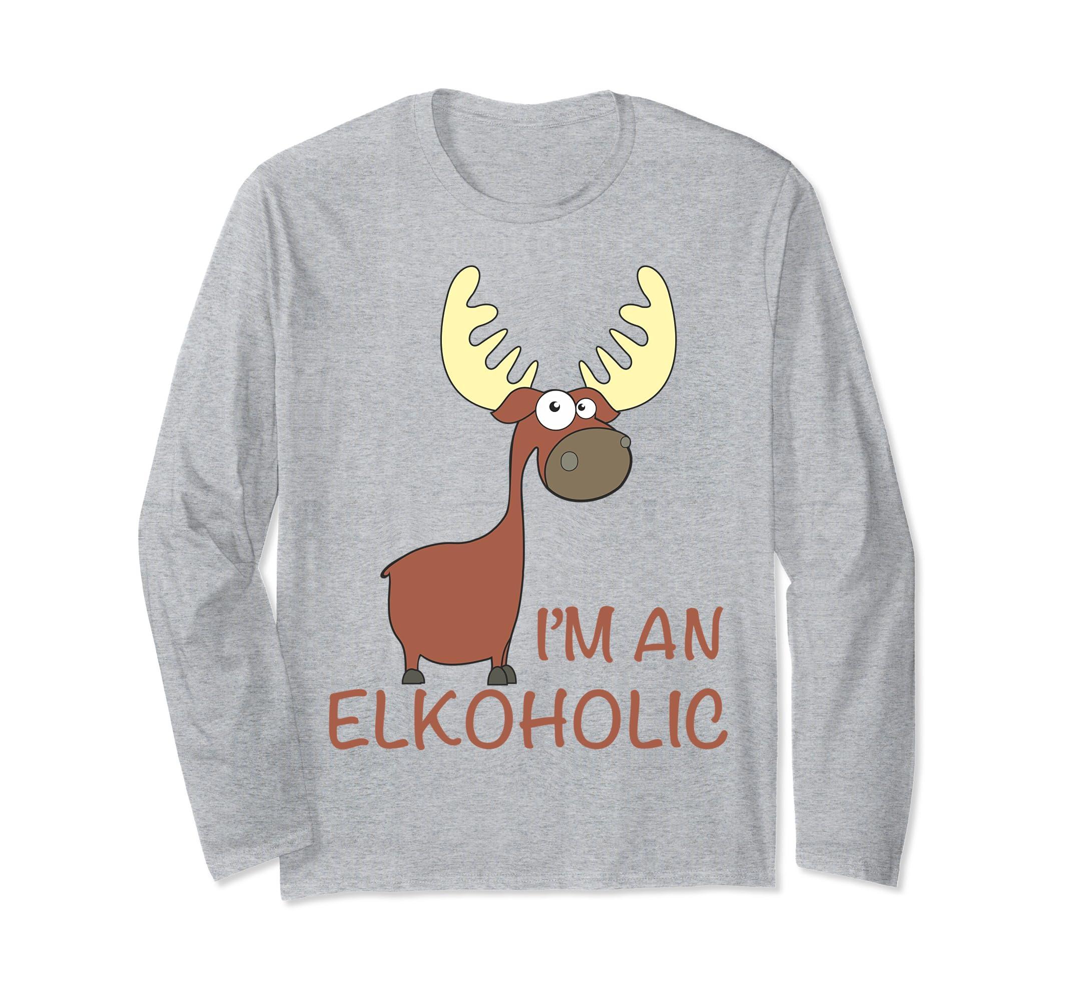 I am an Elkoholic Long Sleeve Shirt T Shirt-Bawle