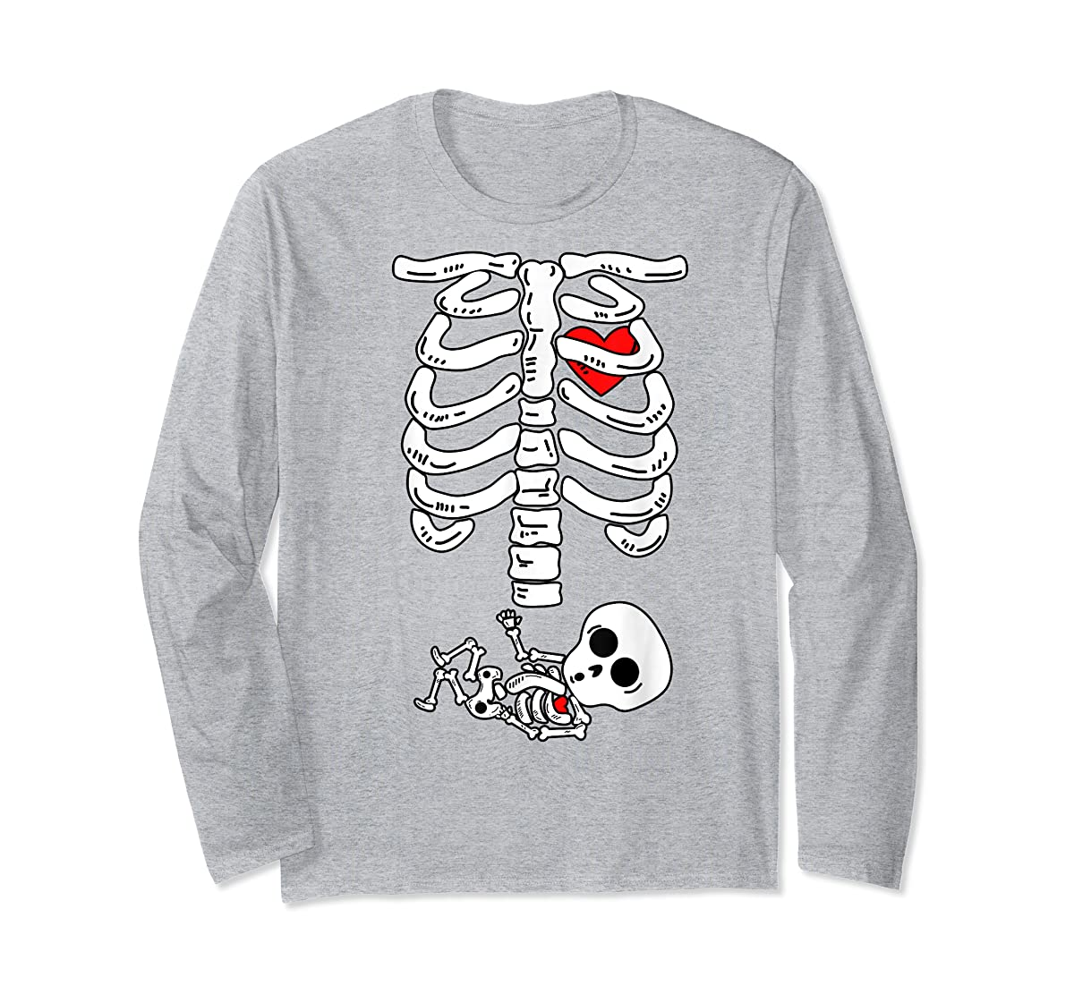 Skeleton Pregnancy Halloween Costumes For Couples T-Shirt-Long Sleeve-Sport Grey