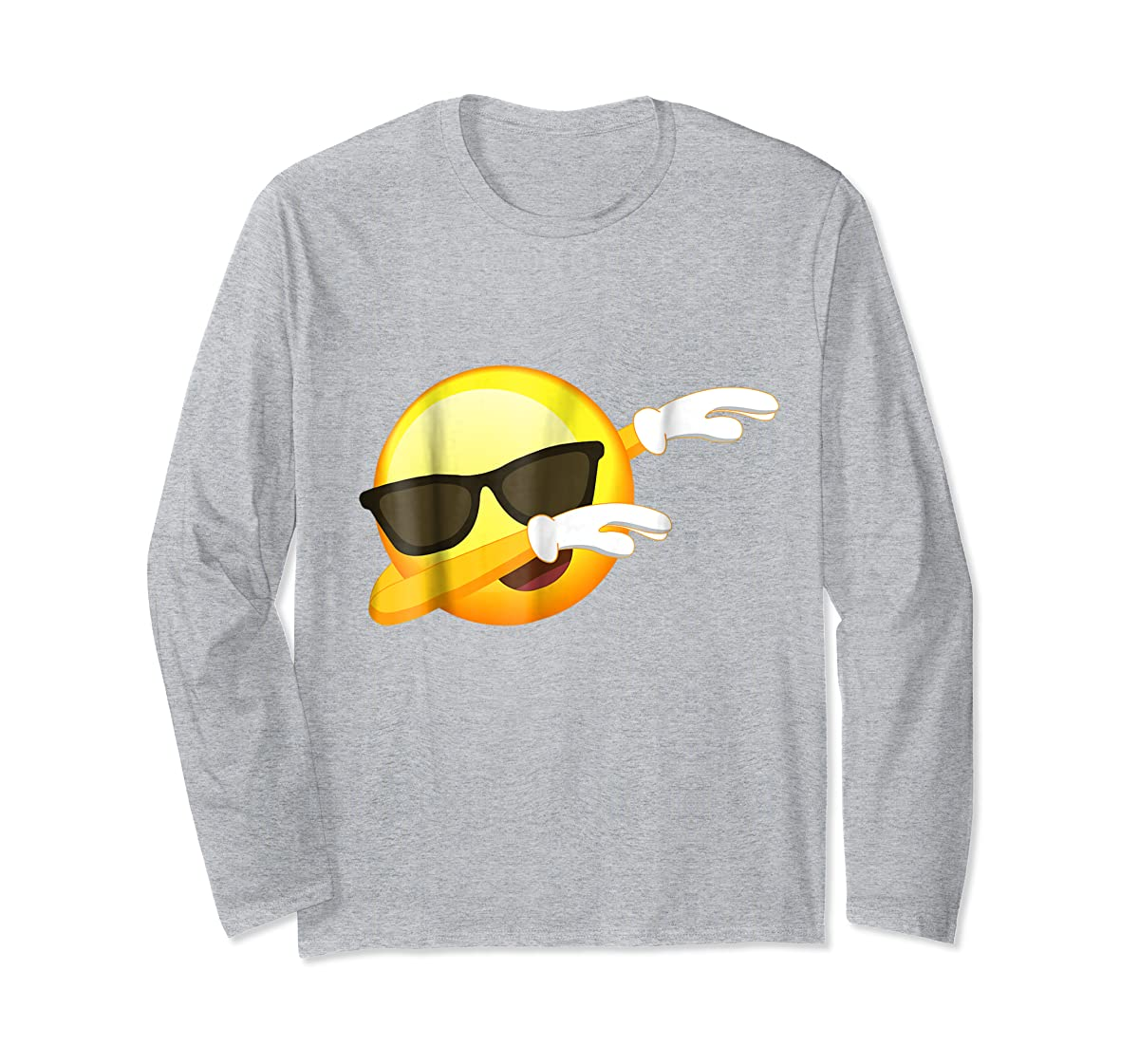 Funny Dabbing Emoji Shirt - Cool Emoji Dab T-Shirt-Long Sleeve-Sport Grey