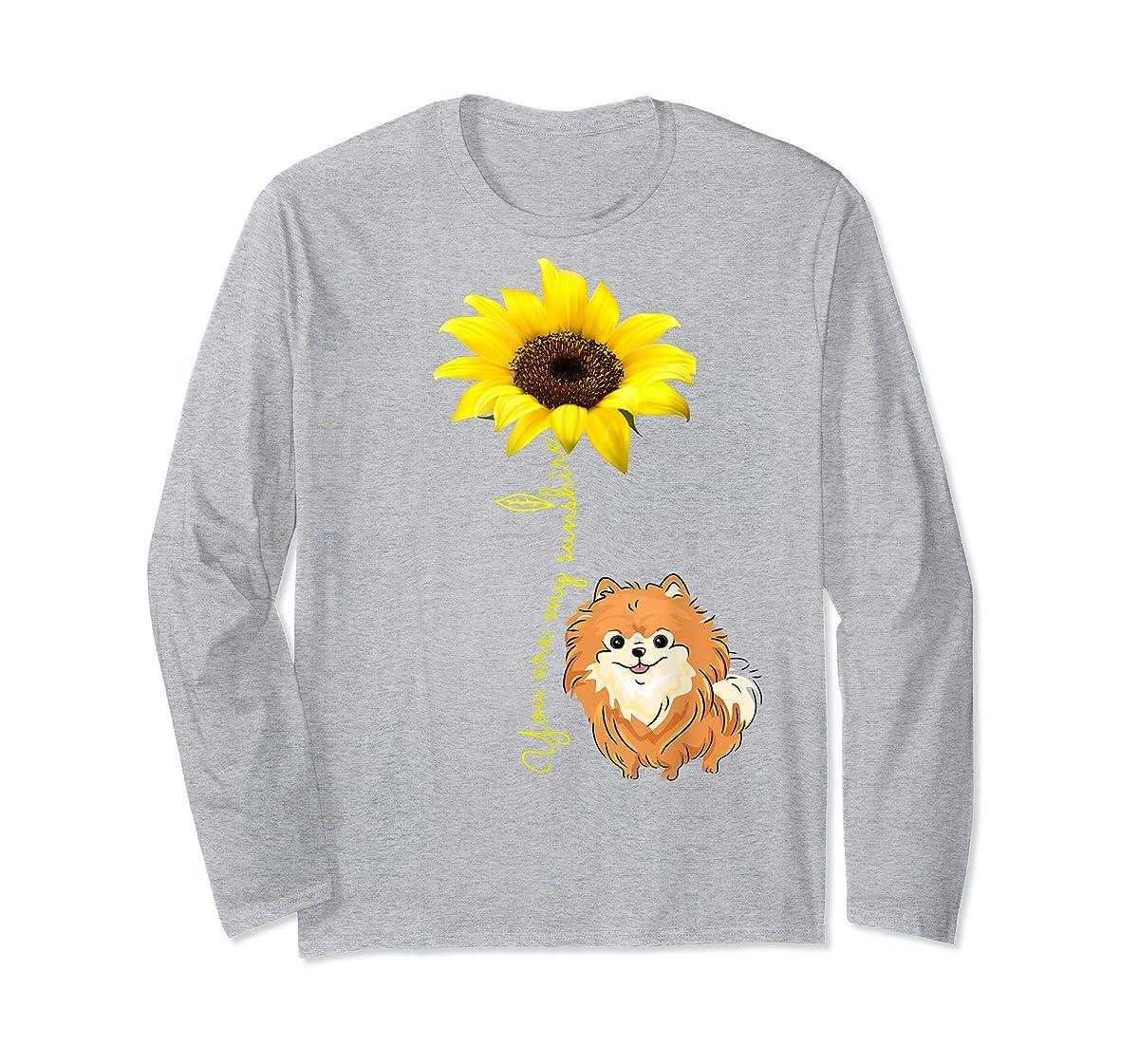 You Are My Sunshine Sunflower Pomeranian Pom Lover Shirt-Long Sleeve-Sport Grey