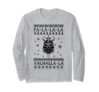 d06a7492 Amazon.com: Ugly Christmas Sweater Funny Valhalla Viking T-Shirt ...