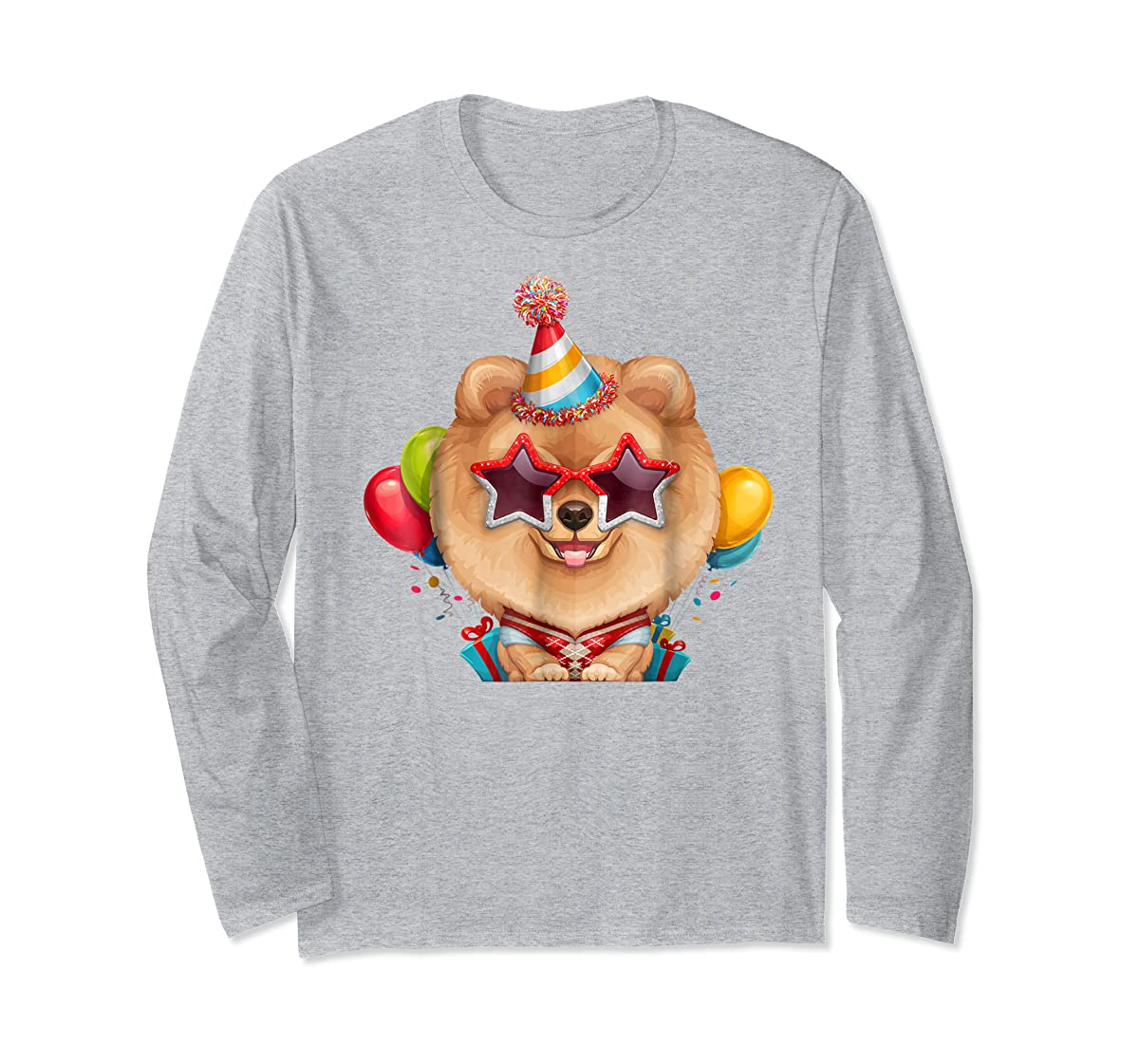 Orange Pomeranian in Glasses Birthday T-Shirt-Long Sleeve-Sport Grey