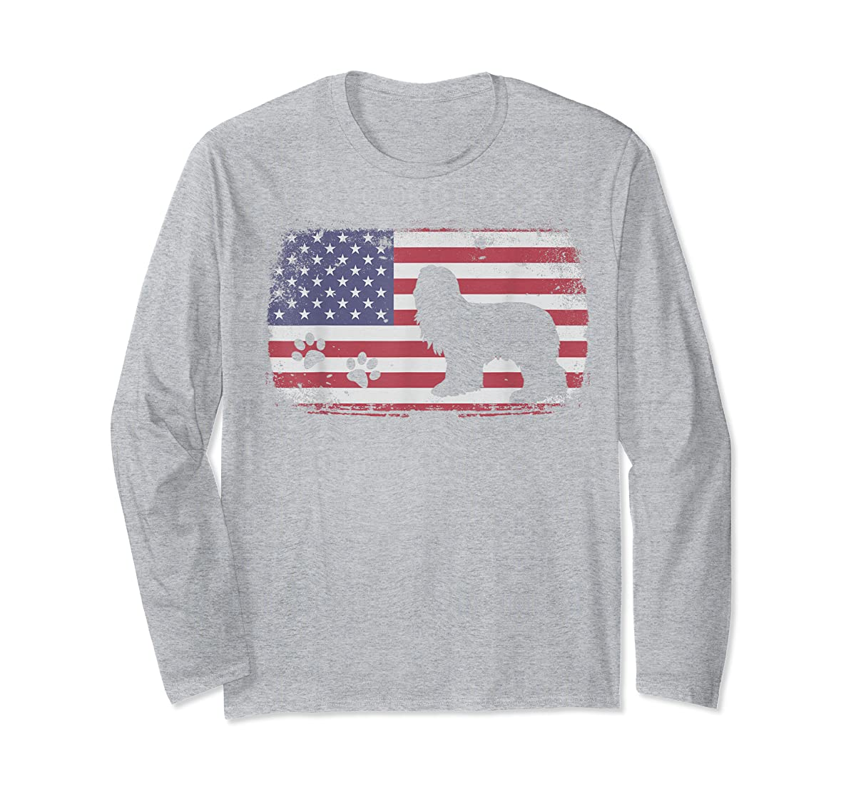 Vintage American Flag Bearded Collie Dog T-Shirt-Long Sleeve-Sport Grey