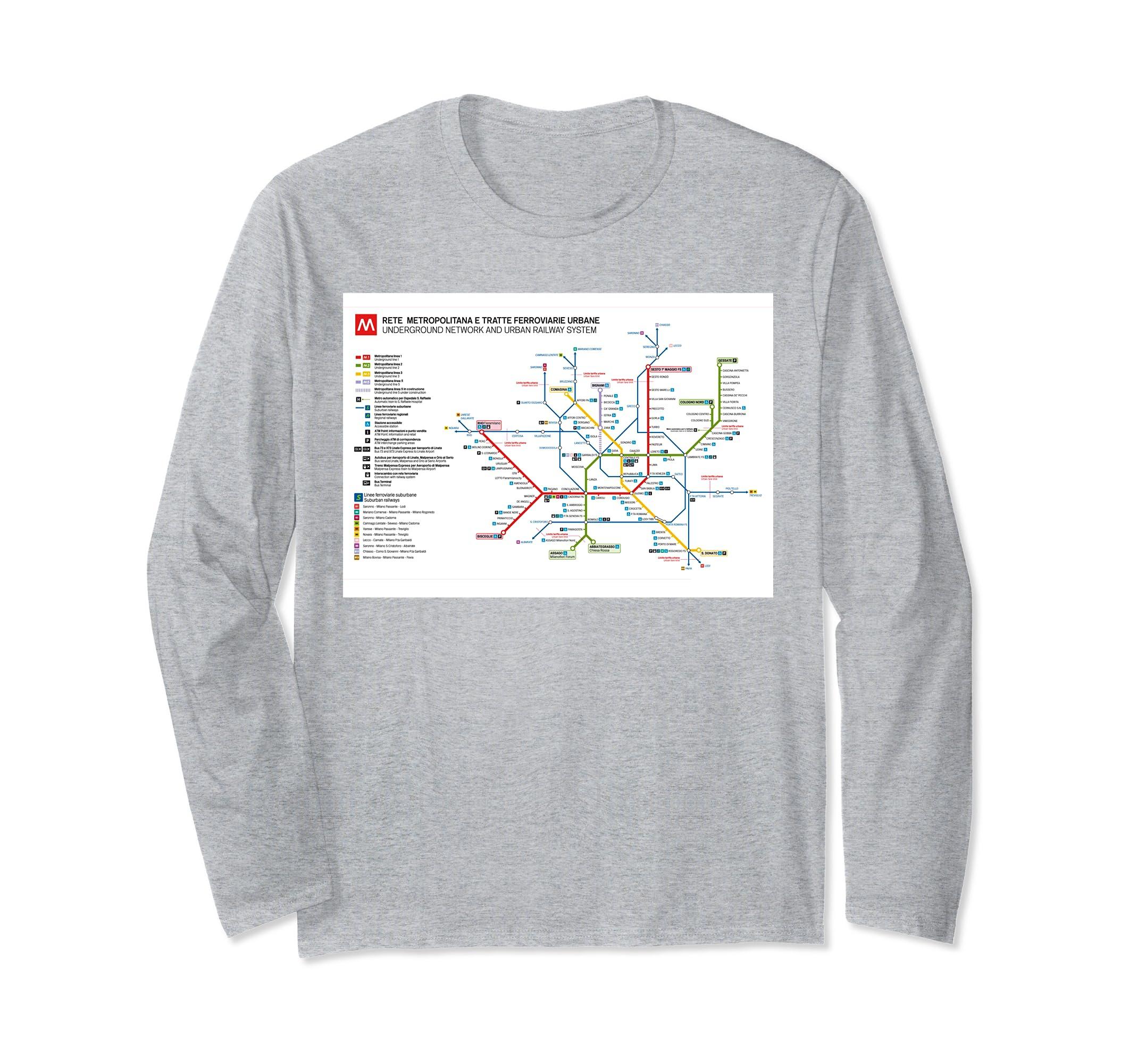 Milan Subway Map.Milan Subway Map Italy Long Sleeve T Shirt Anz
