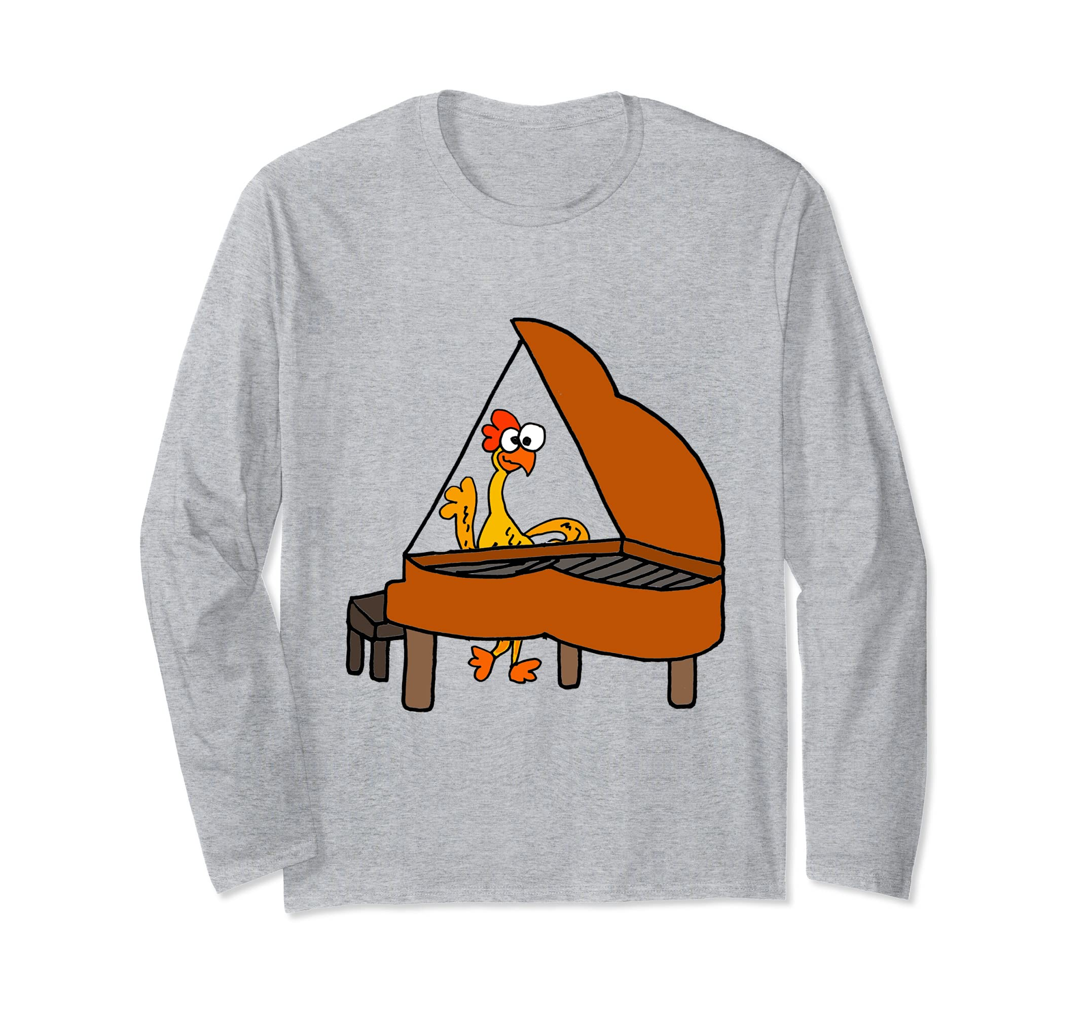 Funny Rubber Chicken and Piano Long Sleeve Shirt-ln