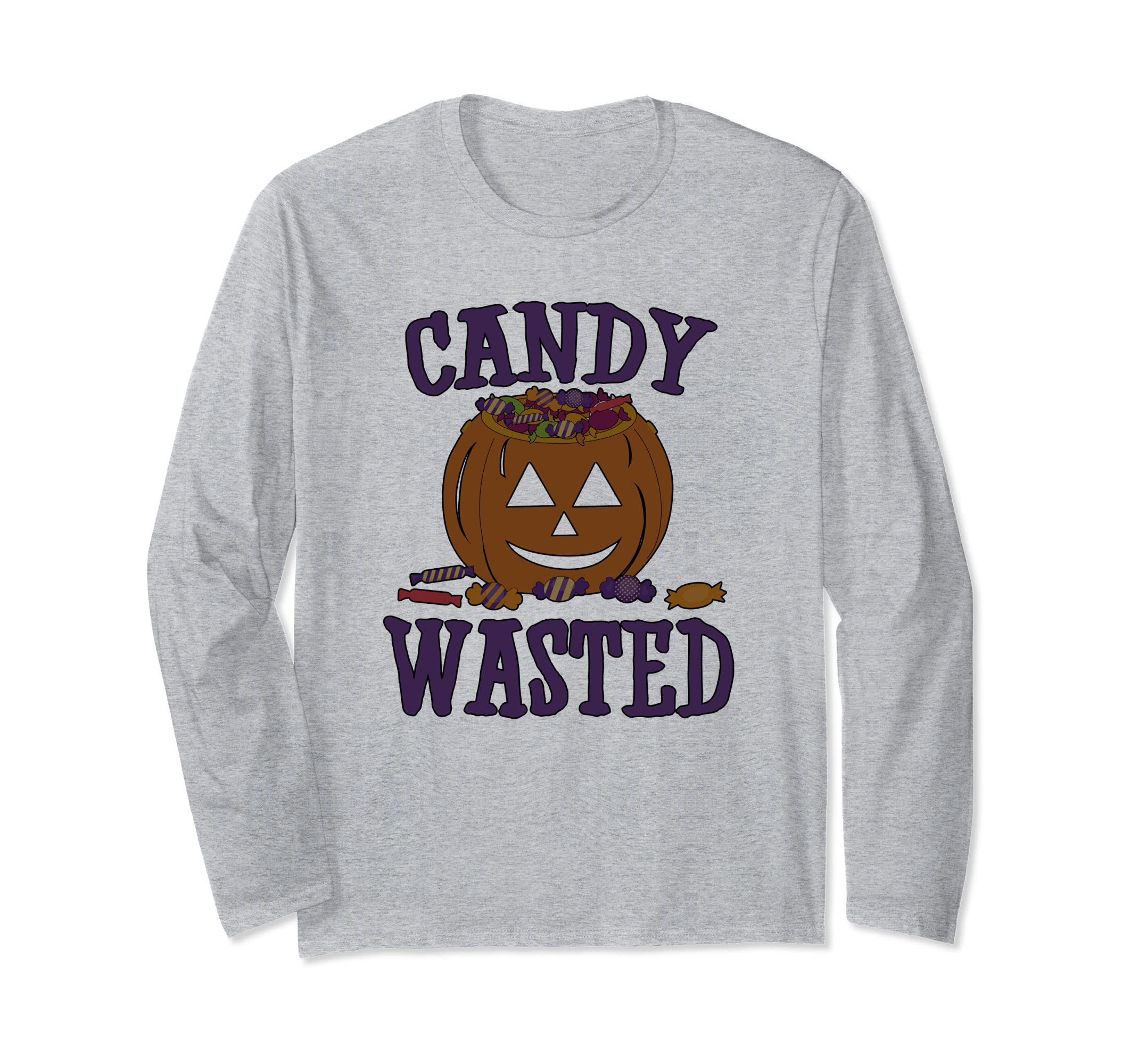 Funny Halloween Long Sleeve Candy Wasted Trick Treat-ANZ