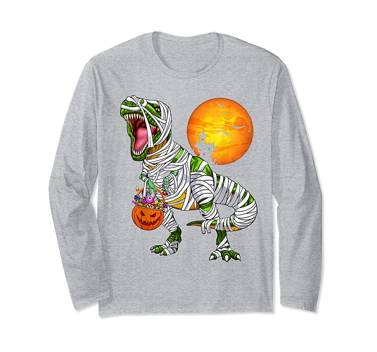 Halloween Gift For Boys Kids Dinosaur T rex Mummy Pumpkin T-Shirt-Long Sleeve-Sport Grey