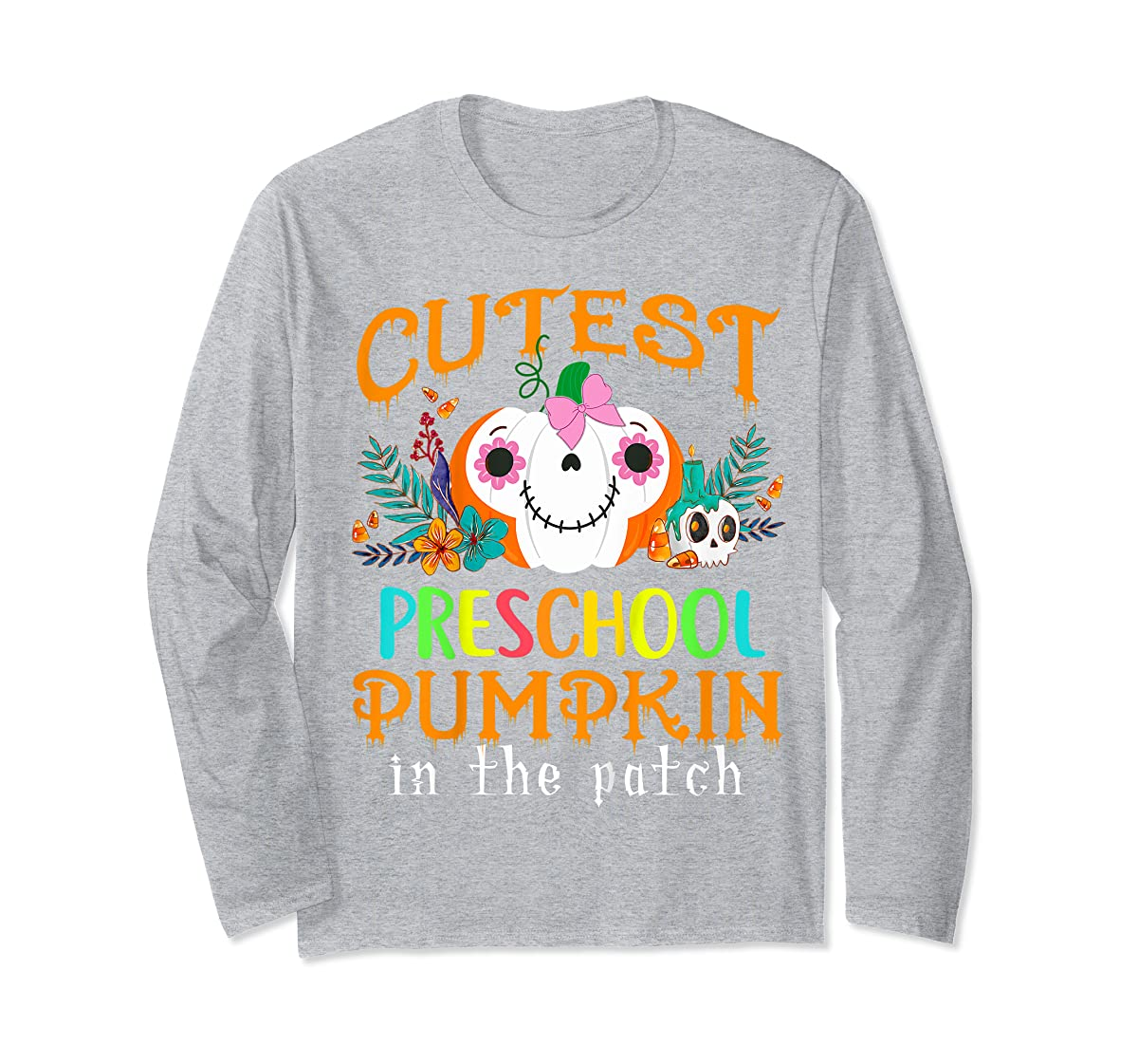 Kids Cutest Preschool Pumpkin In The Patch Halloween Costume Girl T-Shirt-Long Sleeve-Sport Grey