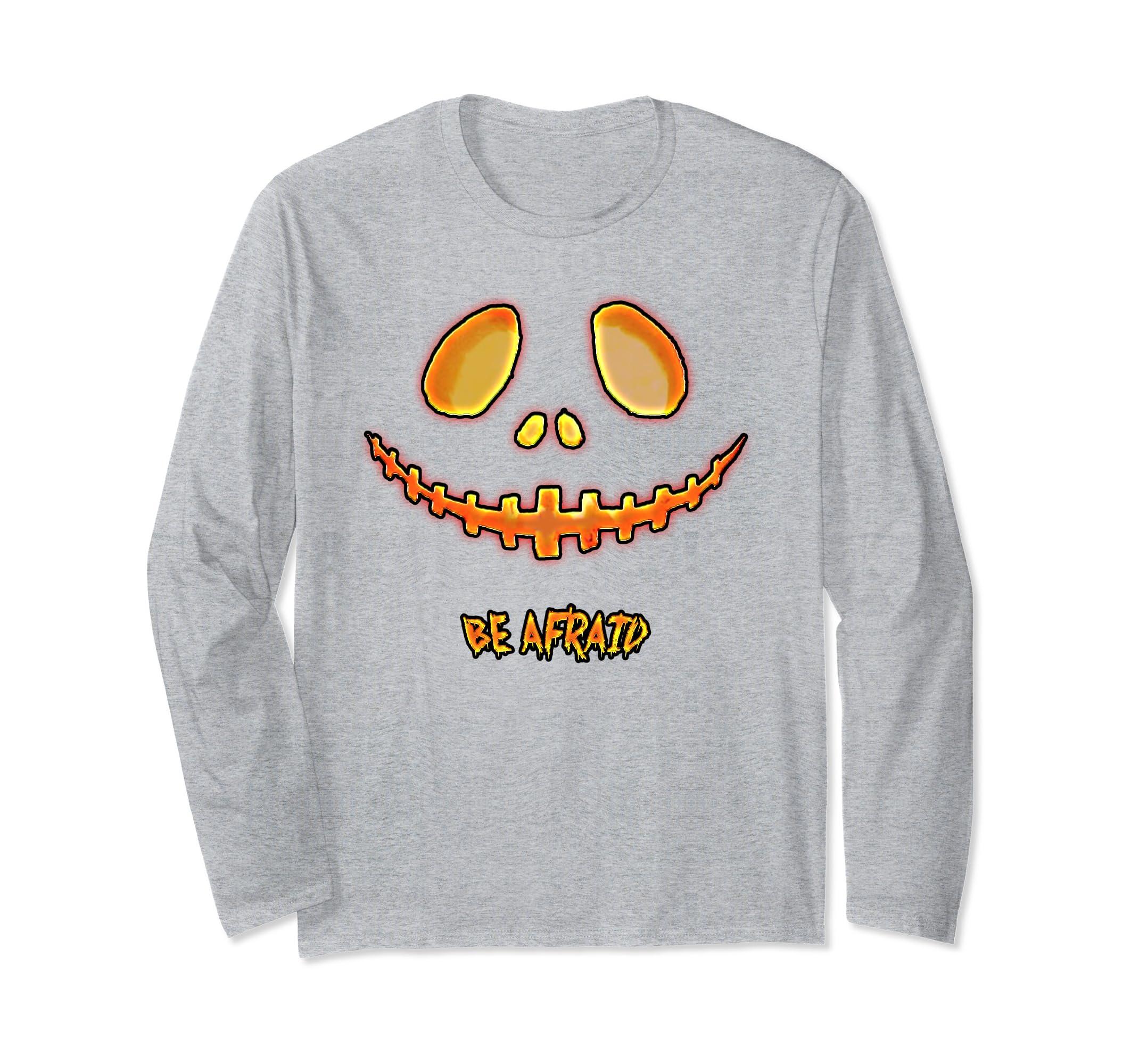 Be afraid Halloween long sleeve pumpkin t-shirt - men, women-Rose