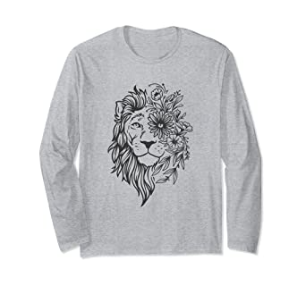 034f6f5b5 Image Unavailable. Image not available for. Color: Bohemian Lion Cute Shirt  Long Sleeve Women Graphic Tee