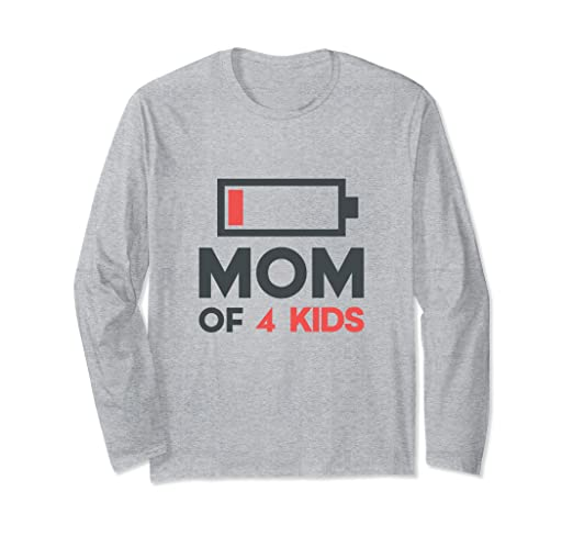 16fca12974 Image Unavailable. Image not available for. Color: Funny Mothers Day Long  Sleeve Mom of 4 Kids ...