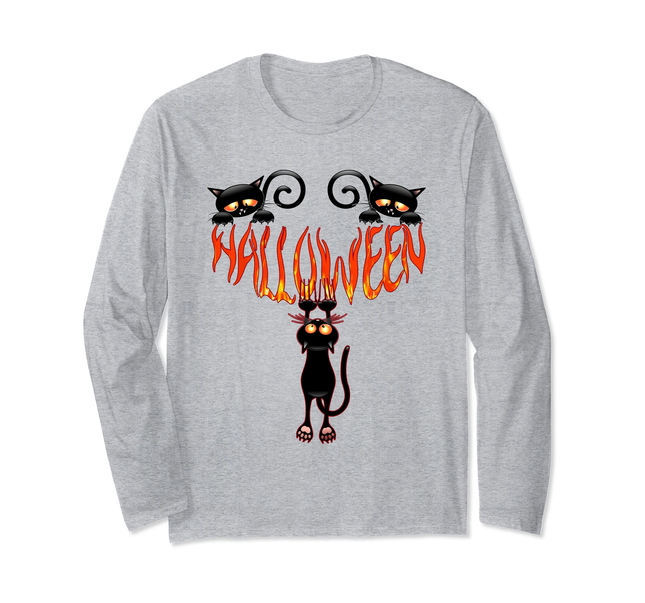 6363d7af Scary Halloween Black Cats Long Sleeve T Shirt Cool Gift-4LVS ...