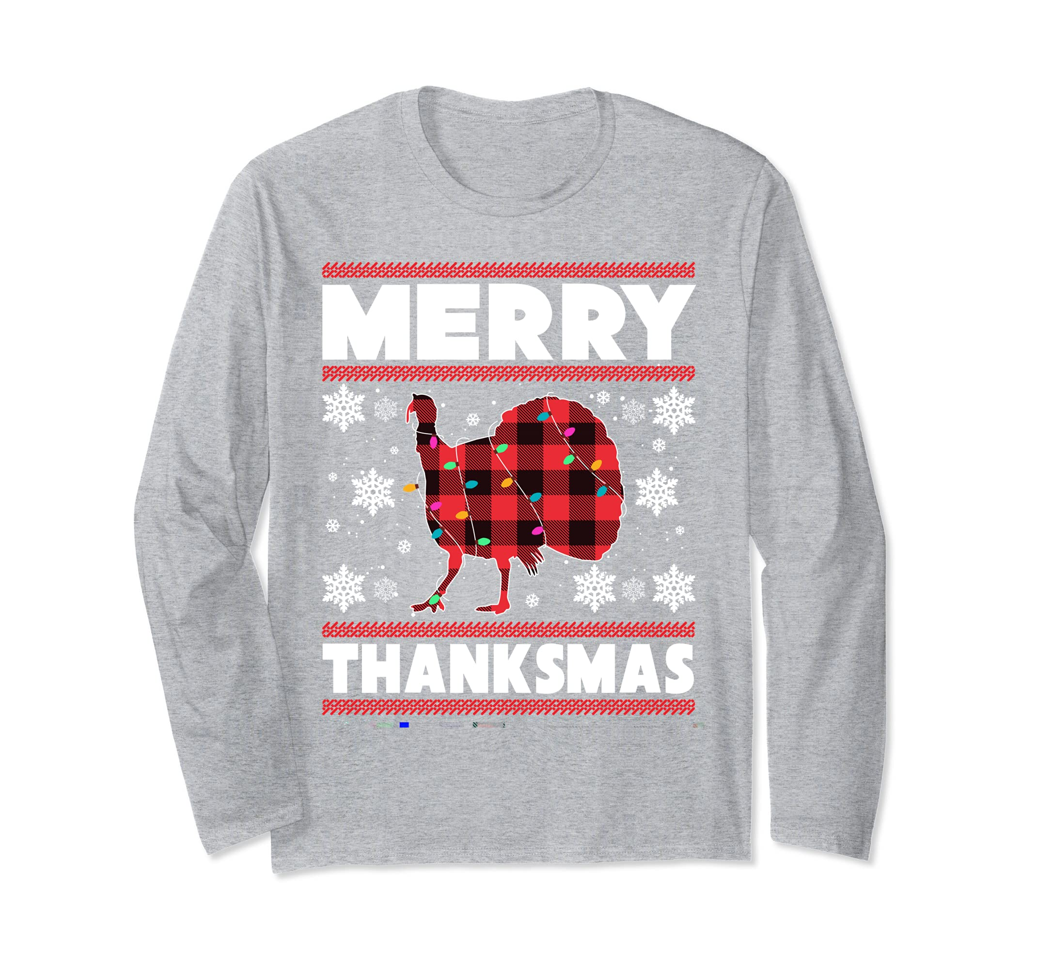 Merry Thanksmas Long Sleeve Thanksgiving Christmas Gifts Cool Design ...