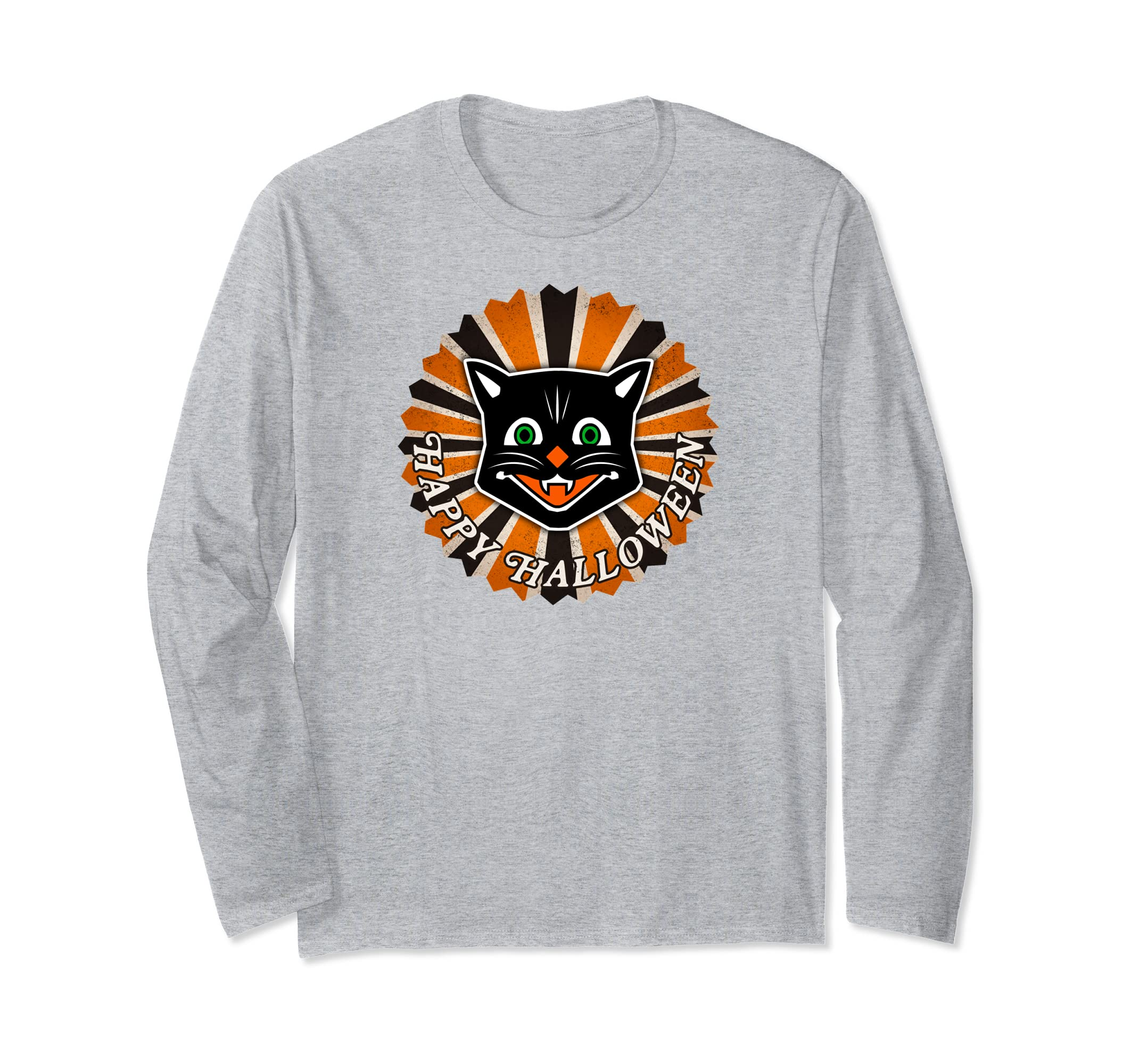 Retro Vintage Style Halloween Black Cat Long Sleeve Shirt-Rose
