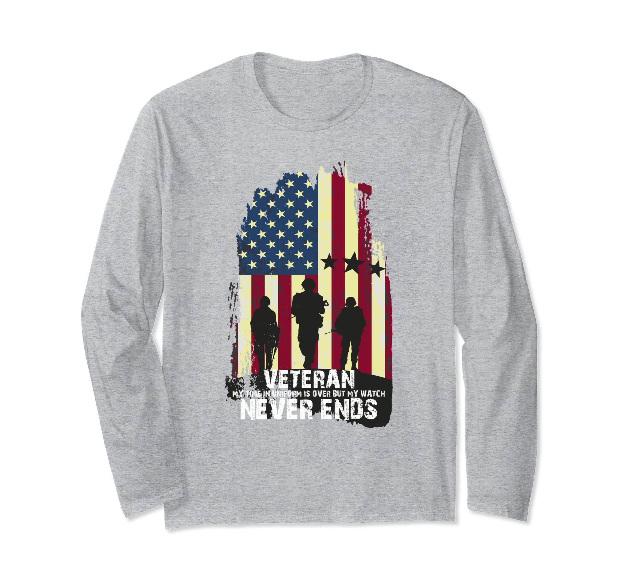 Veterans My Time in Uniform is Over Flag Long Sleeve Tee-azvn