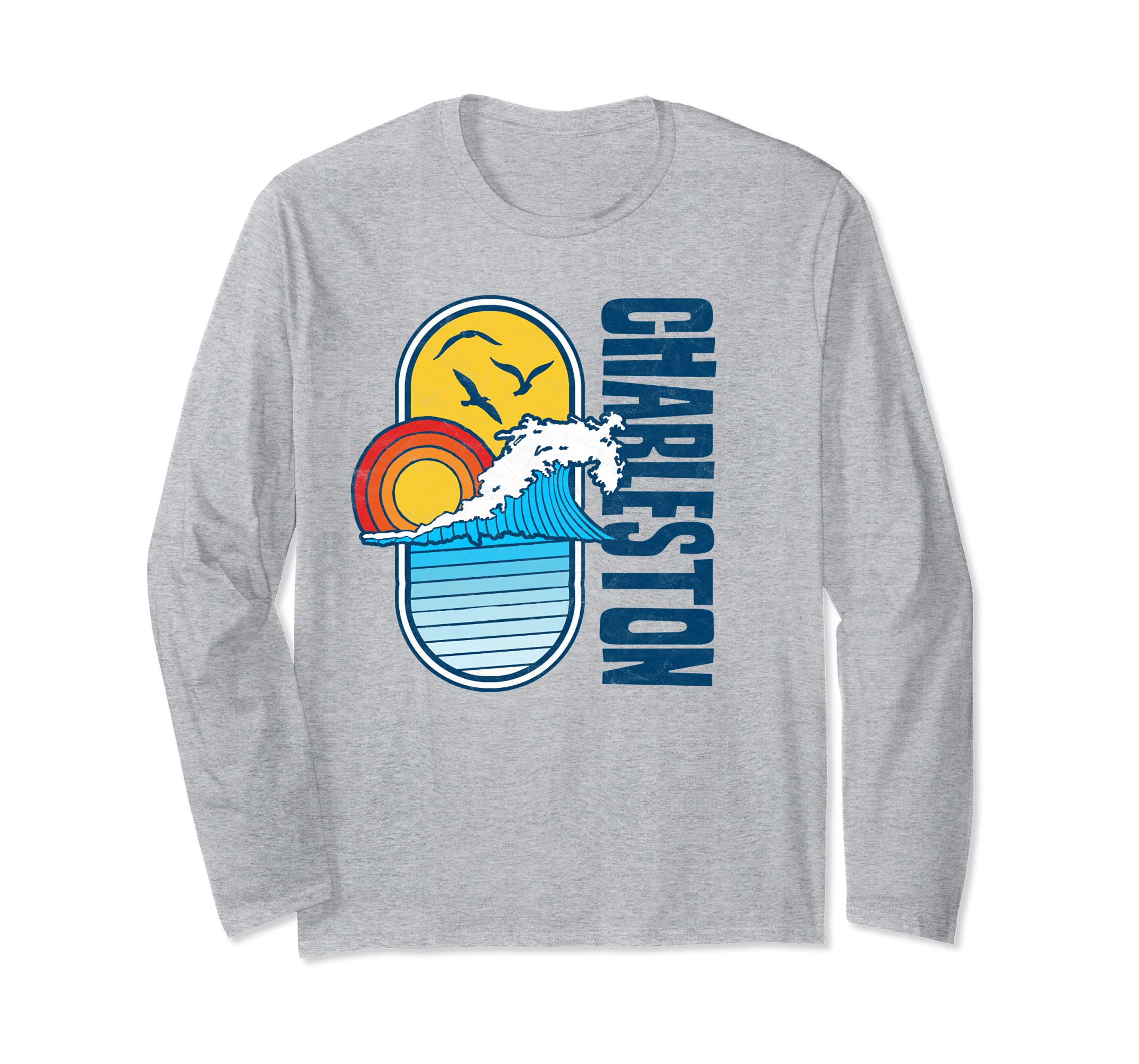 Vintage Charleston SC Beach Surf Graphic Long Sleeve Shirt-Veotee