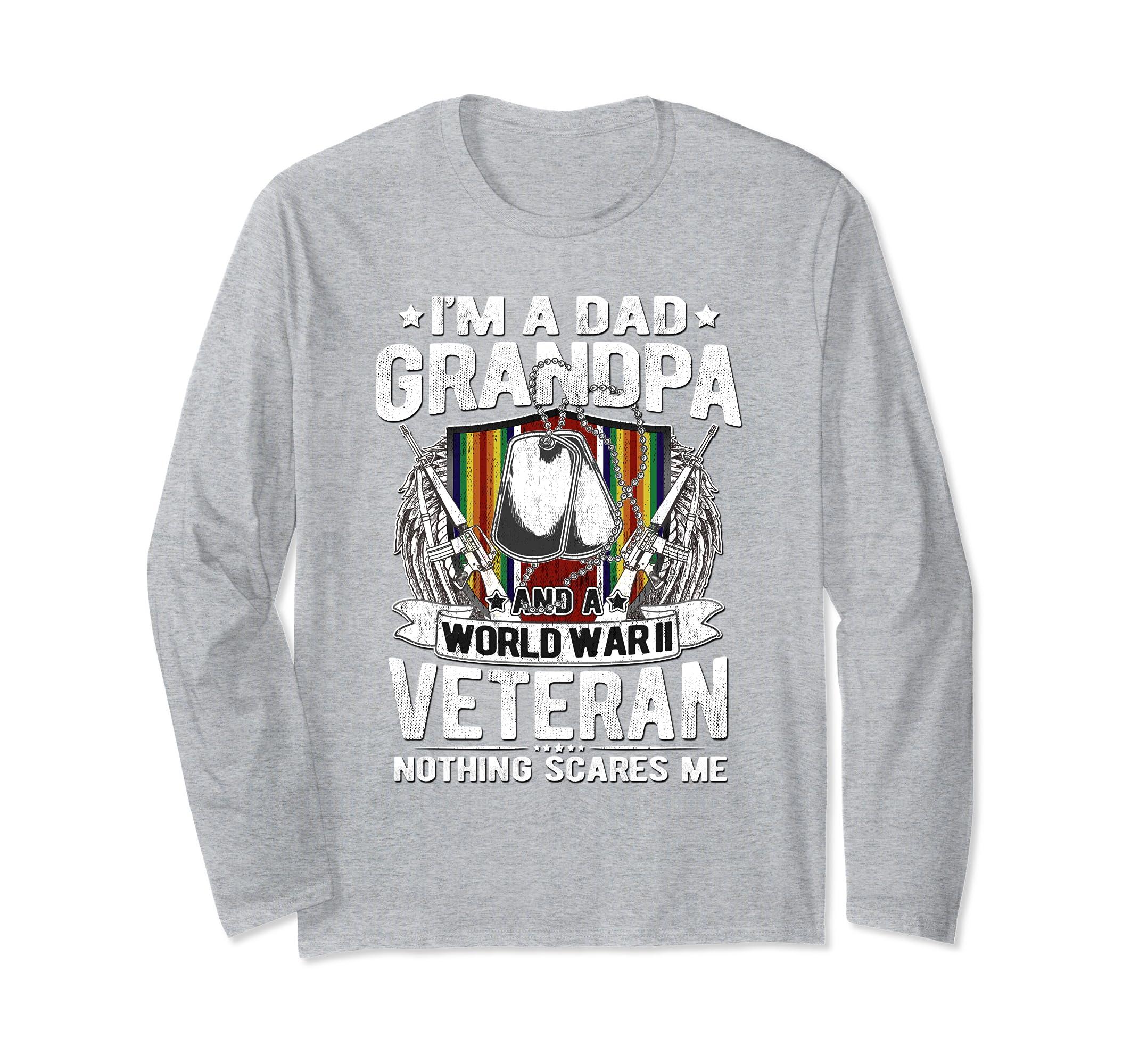 A Dad Grandpa And WW2 Veteran Shirt Army Grandfather Gifts-ln