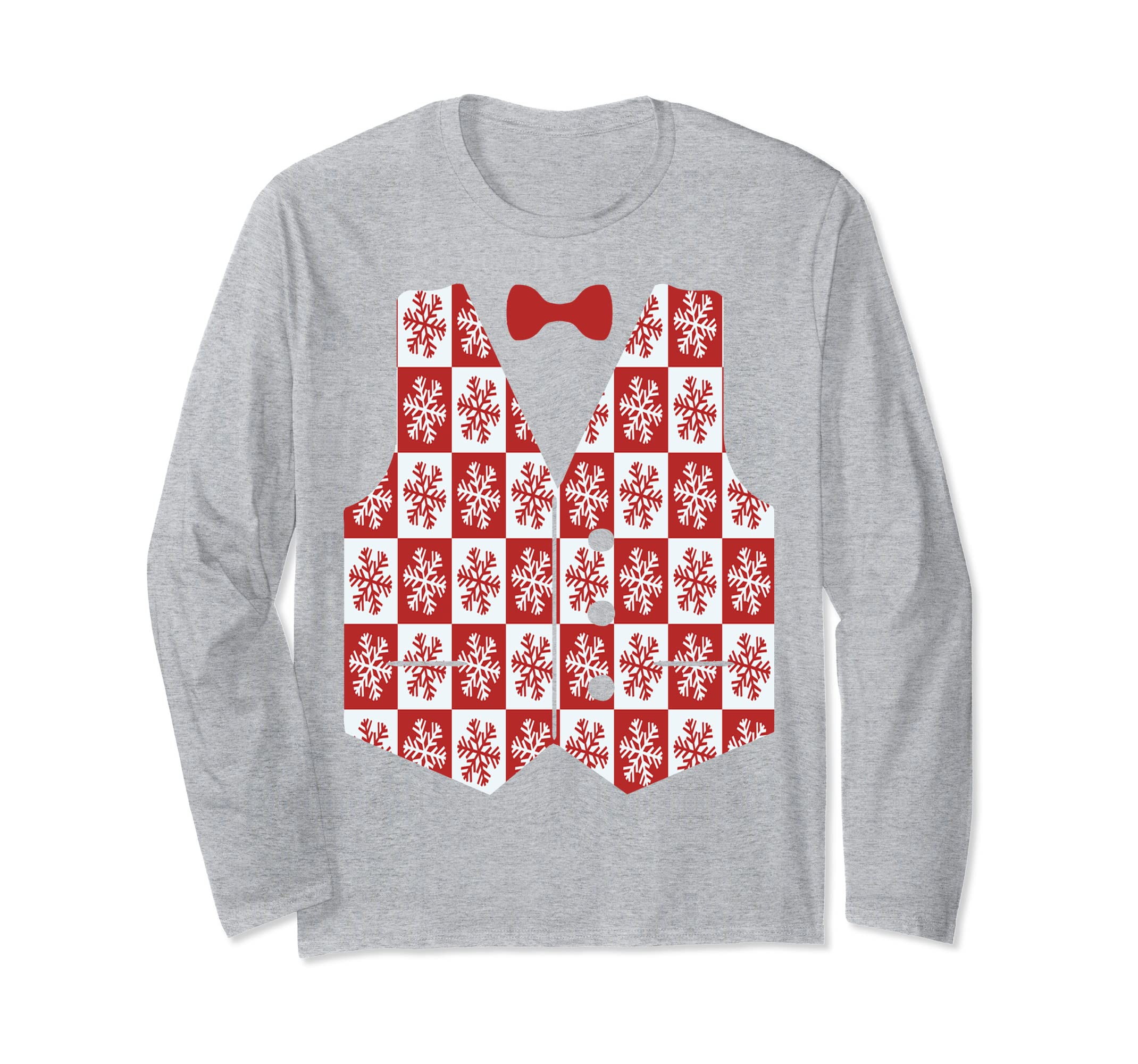 Snowflake Christmas Vest With Bow-tie Long Sleeve T-Shirt-azvn