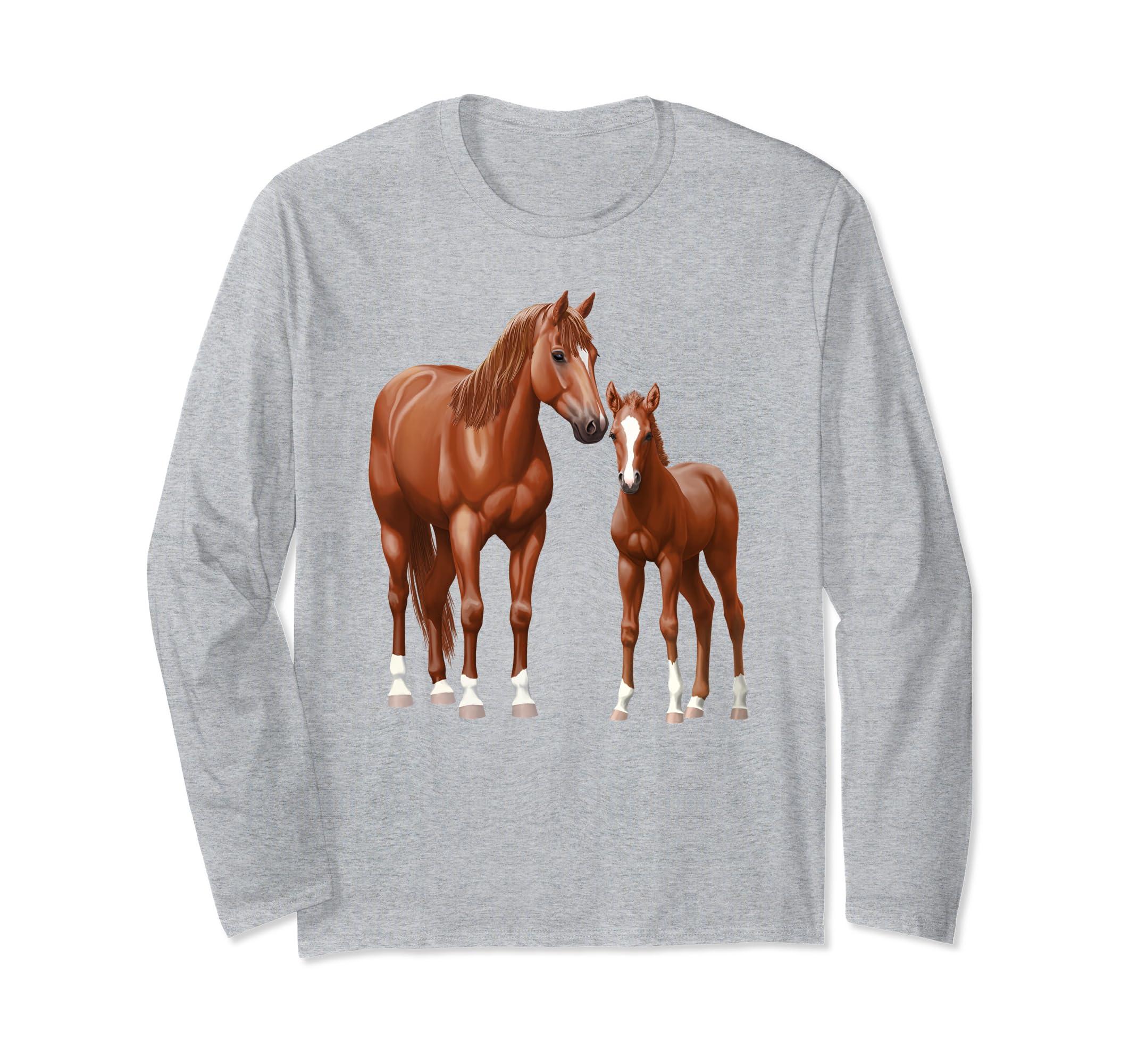 Beautiful Chestnut Quarter Horse Mare & Foal Shirt-ln