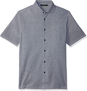 Bugatchi Men's Stright Hem Full Button Down Short Sleeve Knit Shirt