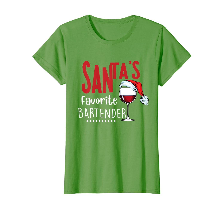 Santa's Favorite Bartender Christmas Profession Job Gift T-Shirt