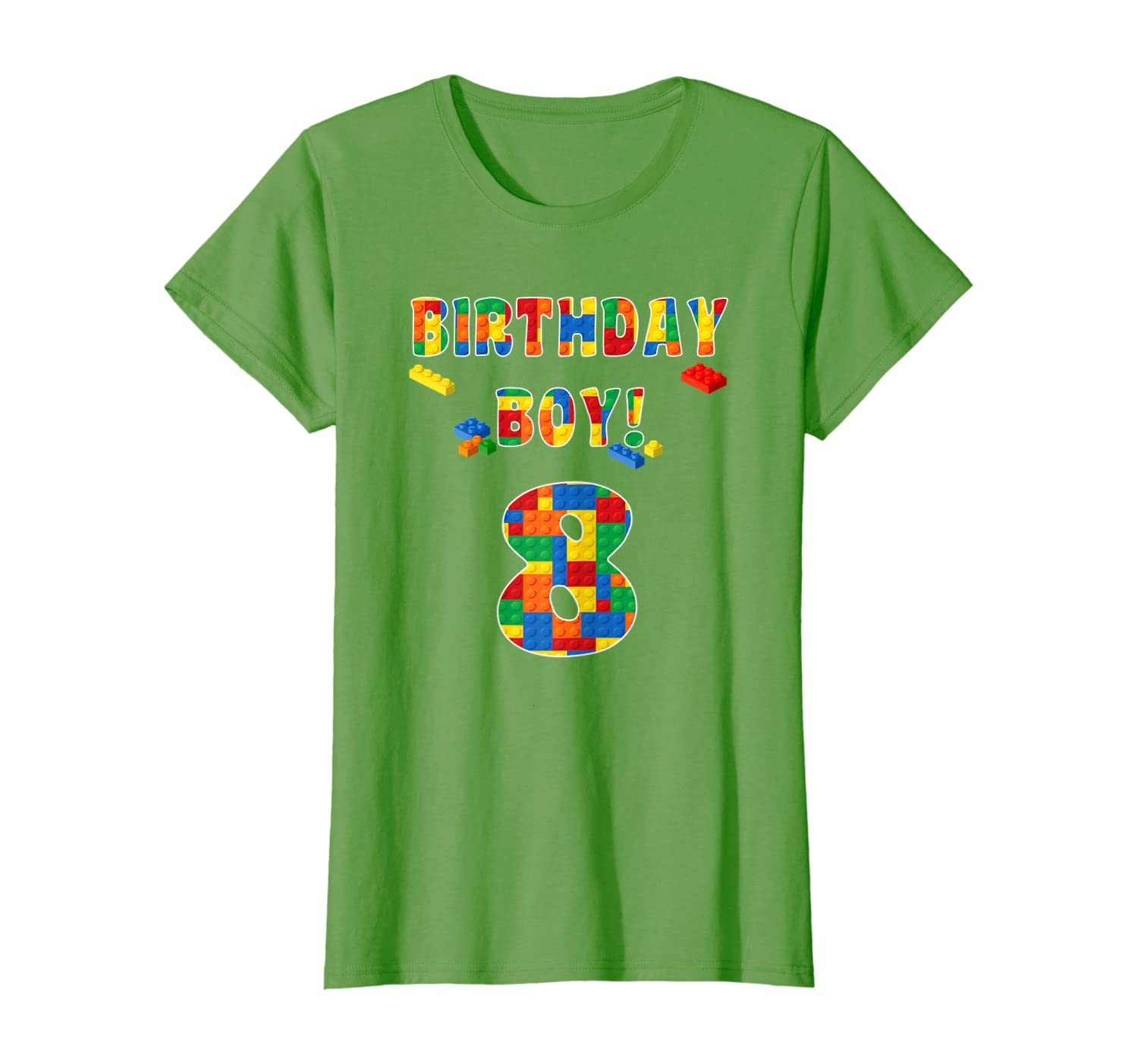 Building Block Birthday Boy Turning 8 T-Shirt