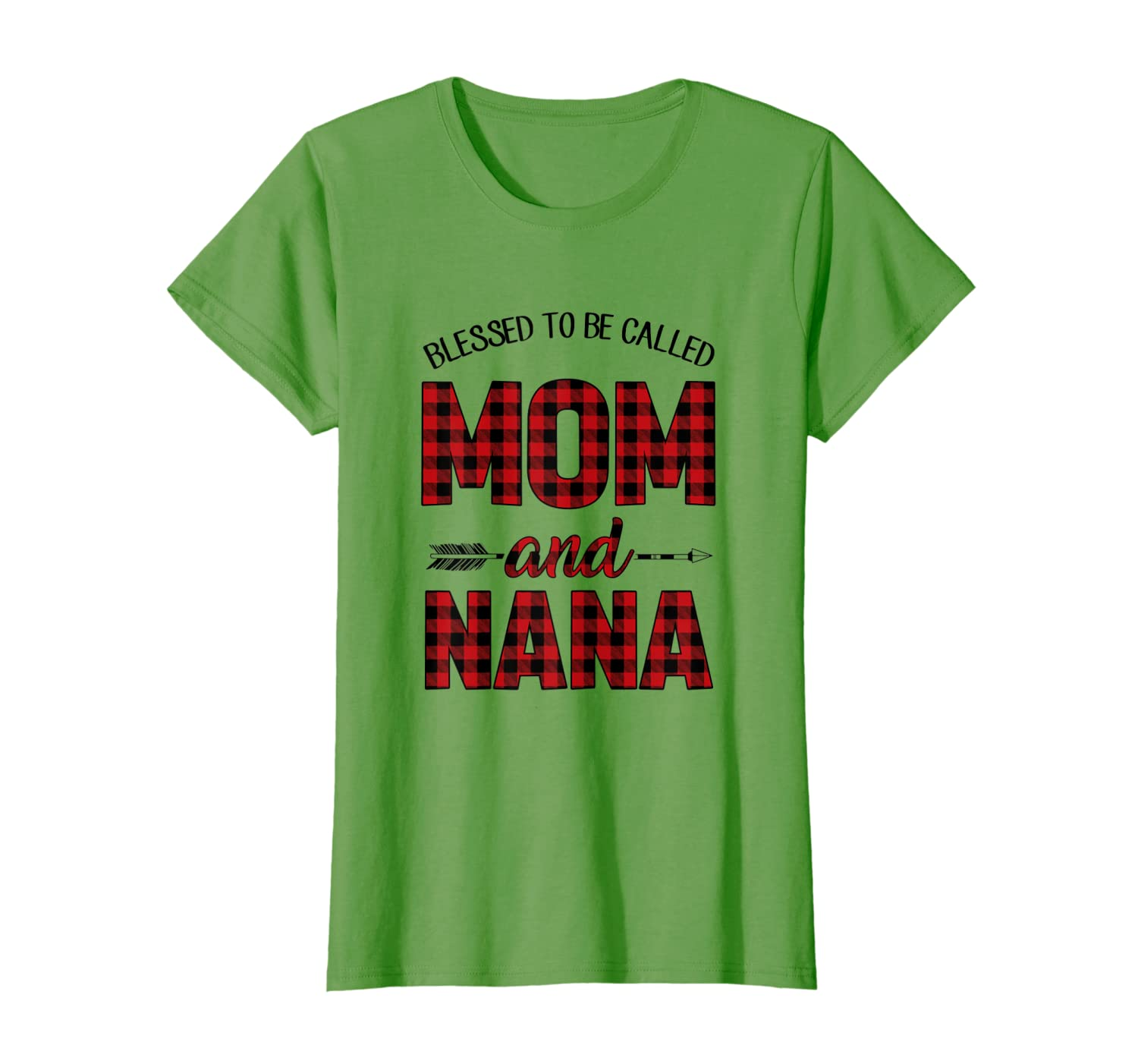 Womens Blessed To Be Called Mom And Nana Red Plaid Buffalo T-Shirt