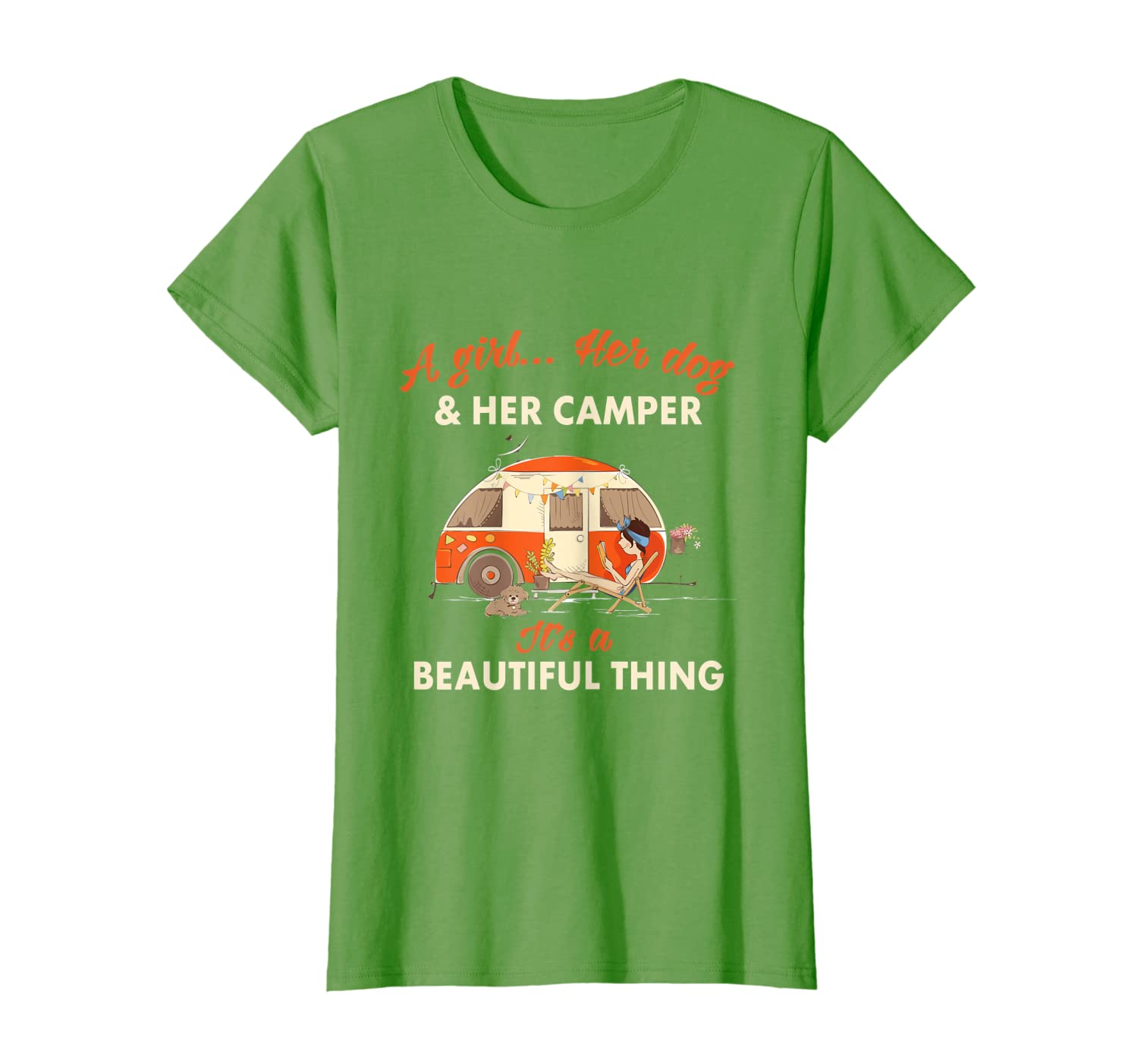 A Girl Her Dog & Her Camper Its A Beautiful Thing Camping T-shirt - Dogs Shirts For Men Women