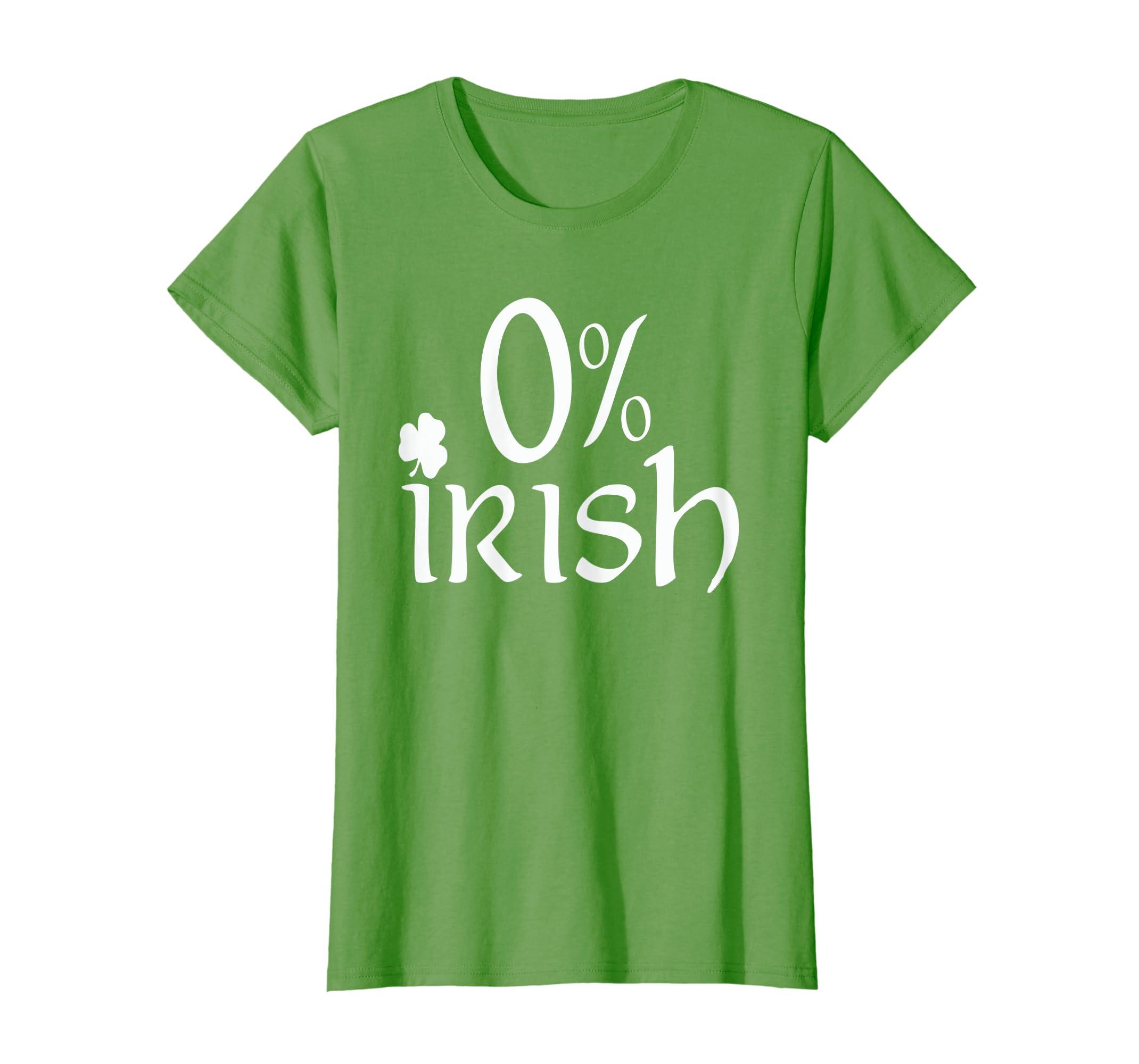 88494dc743f30 Amazon.com: St Patrick's Day 0% Irish Shamrock T Shirt Drinking ...