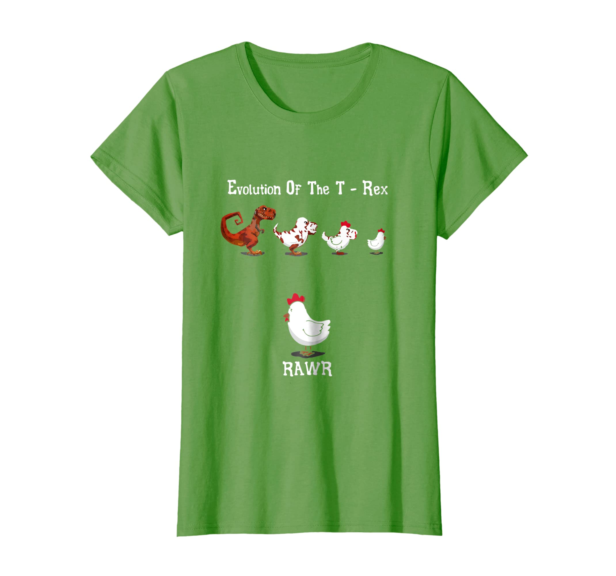 Evolution Of The T Rex Rawr Funny Chicken T Shirt-Bawle