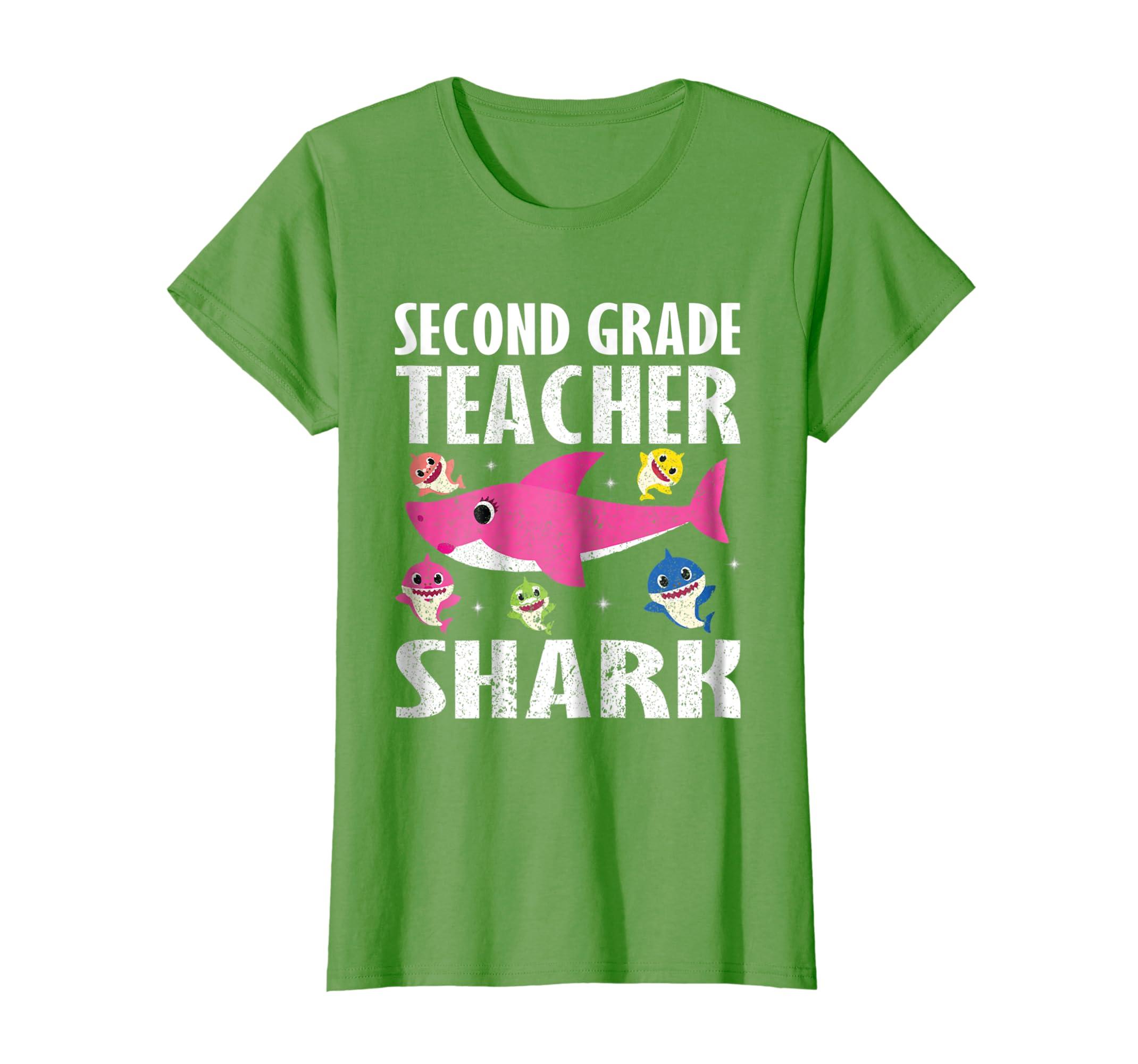 Cute Smile Mommy & Baby Second Grade Teacher Sharks T-Shirt ...