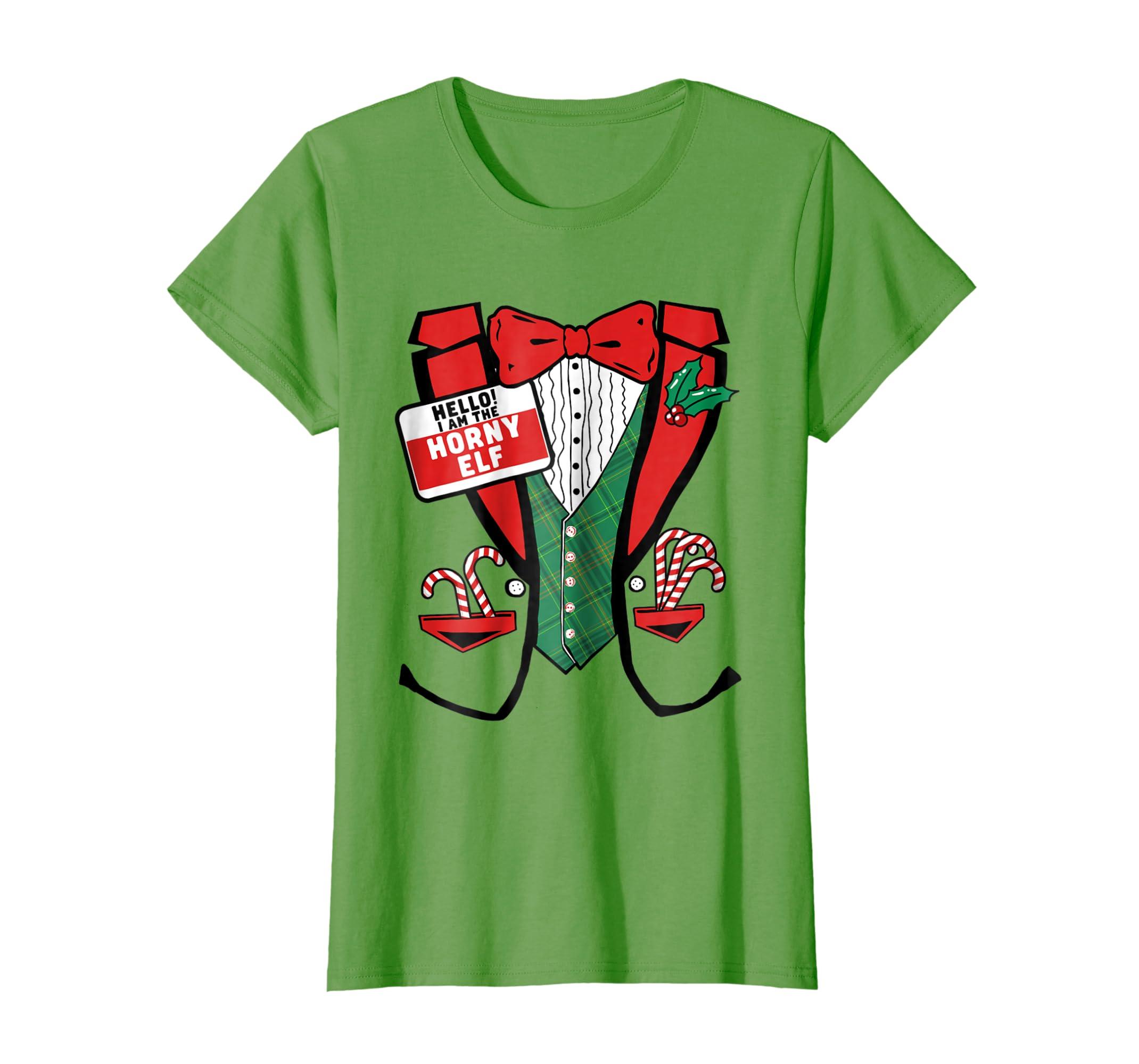 e9d527c2f6 Amazon.com: I'm the Horny Elf! Funny Group Christmas Tux T-Shirt: Clothing
