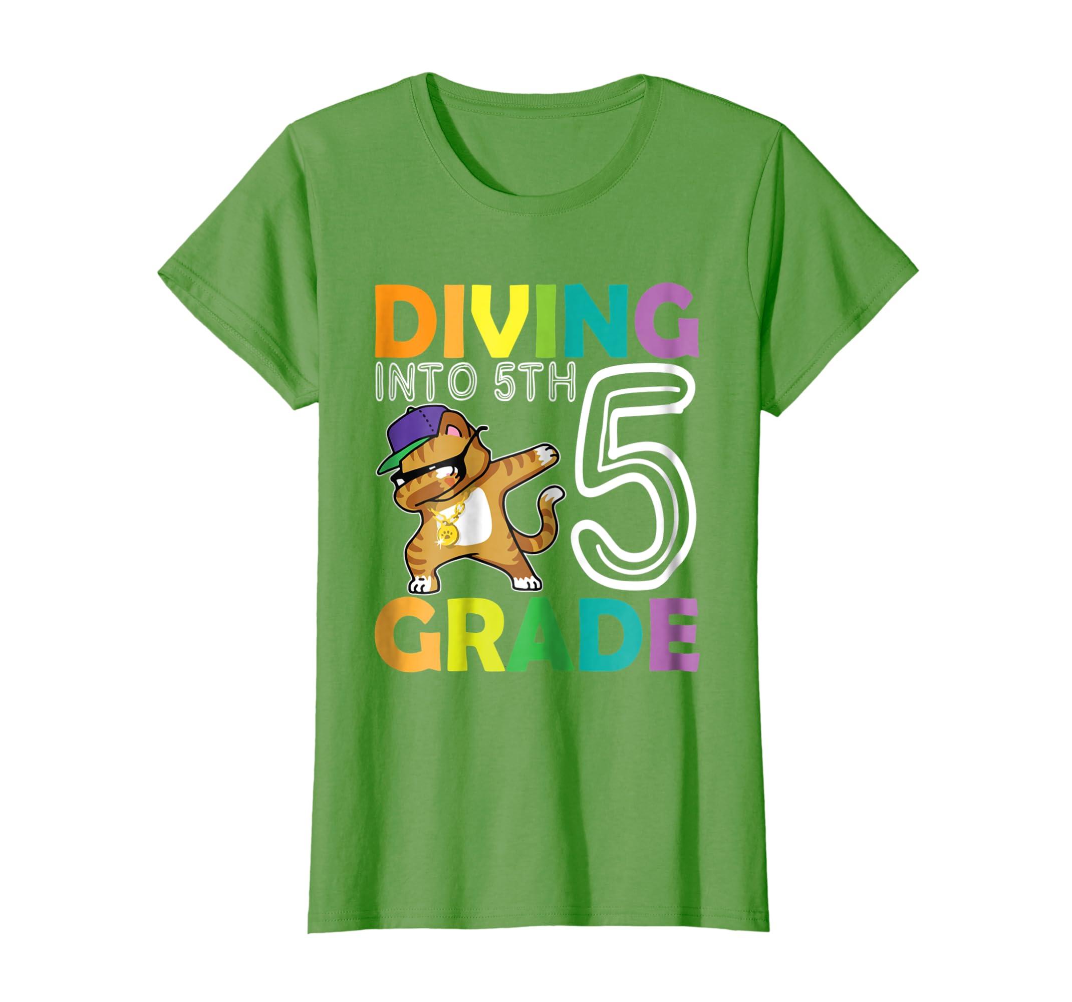 Cat Dabbing Diving Into 5TH Grade Tshirt First Day Of School-Awarplus