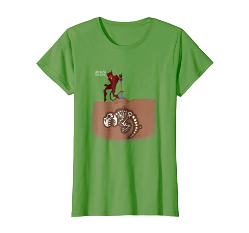 8041fc020a Amazon.com: Because Fuck Science Devil Burying Dinosaur Bones T-Shirt:  Clothing