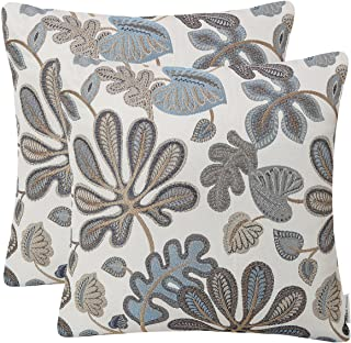 Best Mika Home Set of 2 Jacquard Tropical Leaf Pattern Throw Pillow Covers Decorative Pillowcase 20X20 Inches,Blue Cream Review
