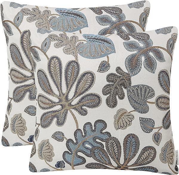 米卡家居 2 件套提花热带树叶图案抱枕套装饰枕套 20x 20 英寸蓝色奶油