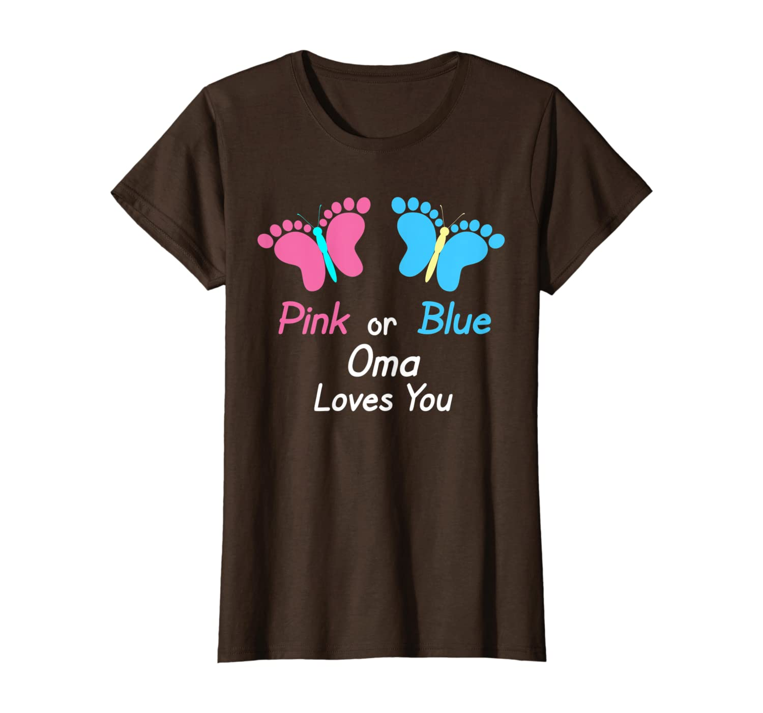 Gender Reveal Oma Pink or Blue Butterflies T-Shirt-Yolotee