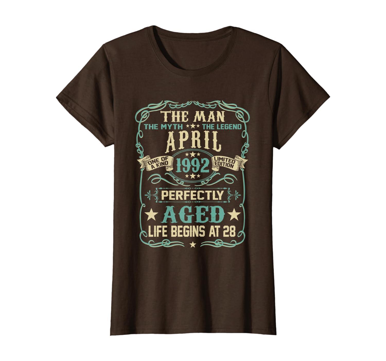 28th Birthday Gift The Man Myth Legend Born In APRIL 1992 T-Shirt