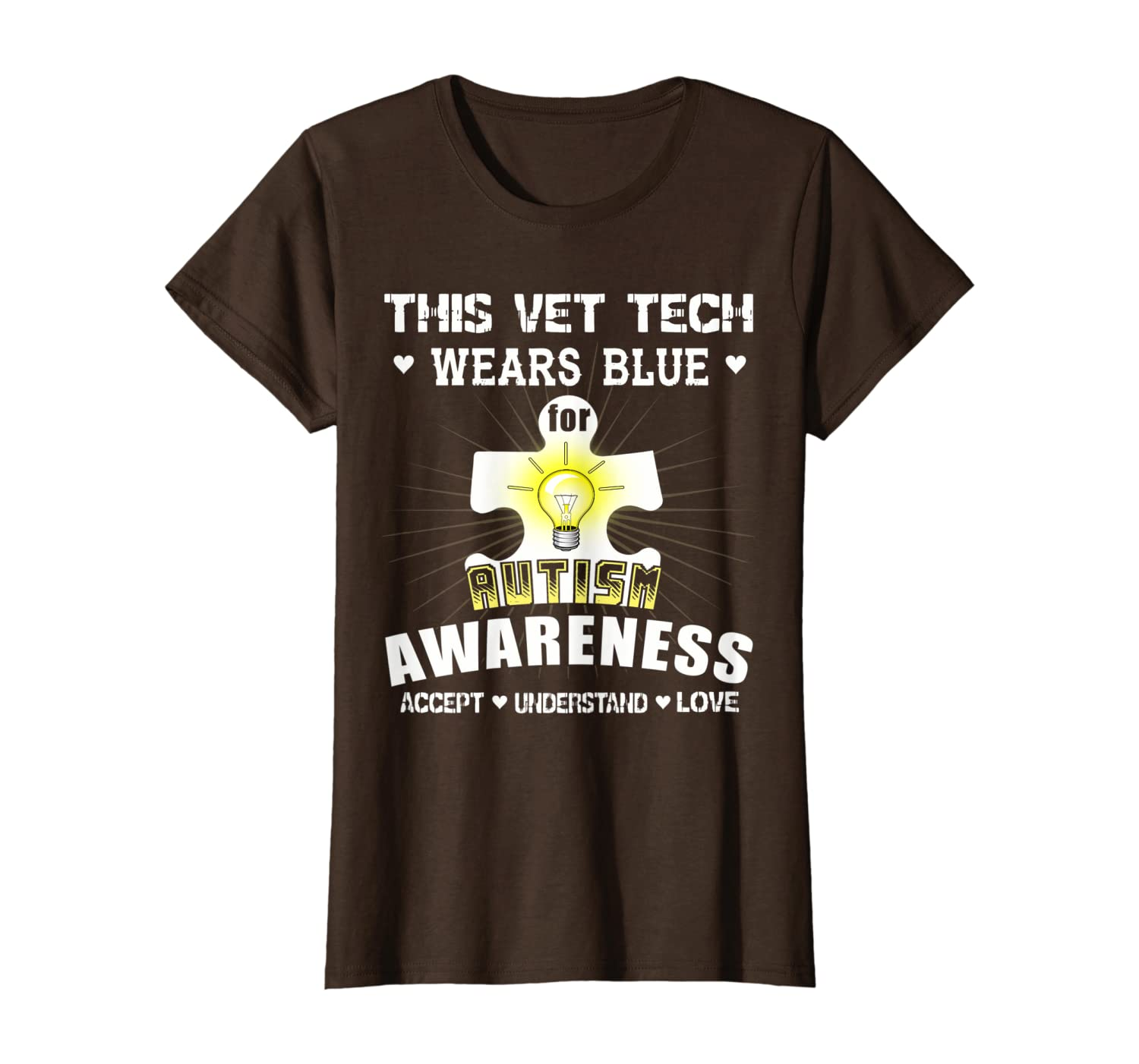 This Vet Tech Wears Blue For Autism Awareness Accept T-Shirt T-Shirt