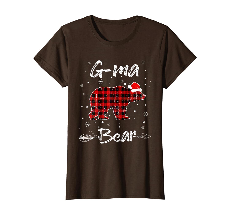 Womens G-Ma Bear Red Plaid Christmas Pajama Family Gift T-Shirt