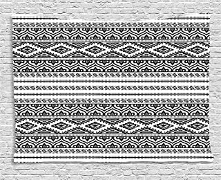 Ambesonne Ethnic Tapestry, Oriental Moroccan Round Style Lines Dots Geometric Shapes Artwork, Wide Wall Hanging for Bedroom Living Room Dorm, 80